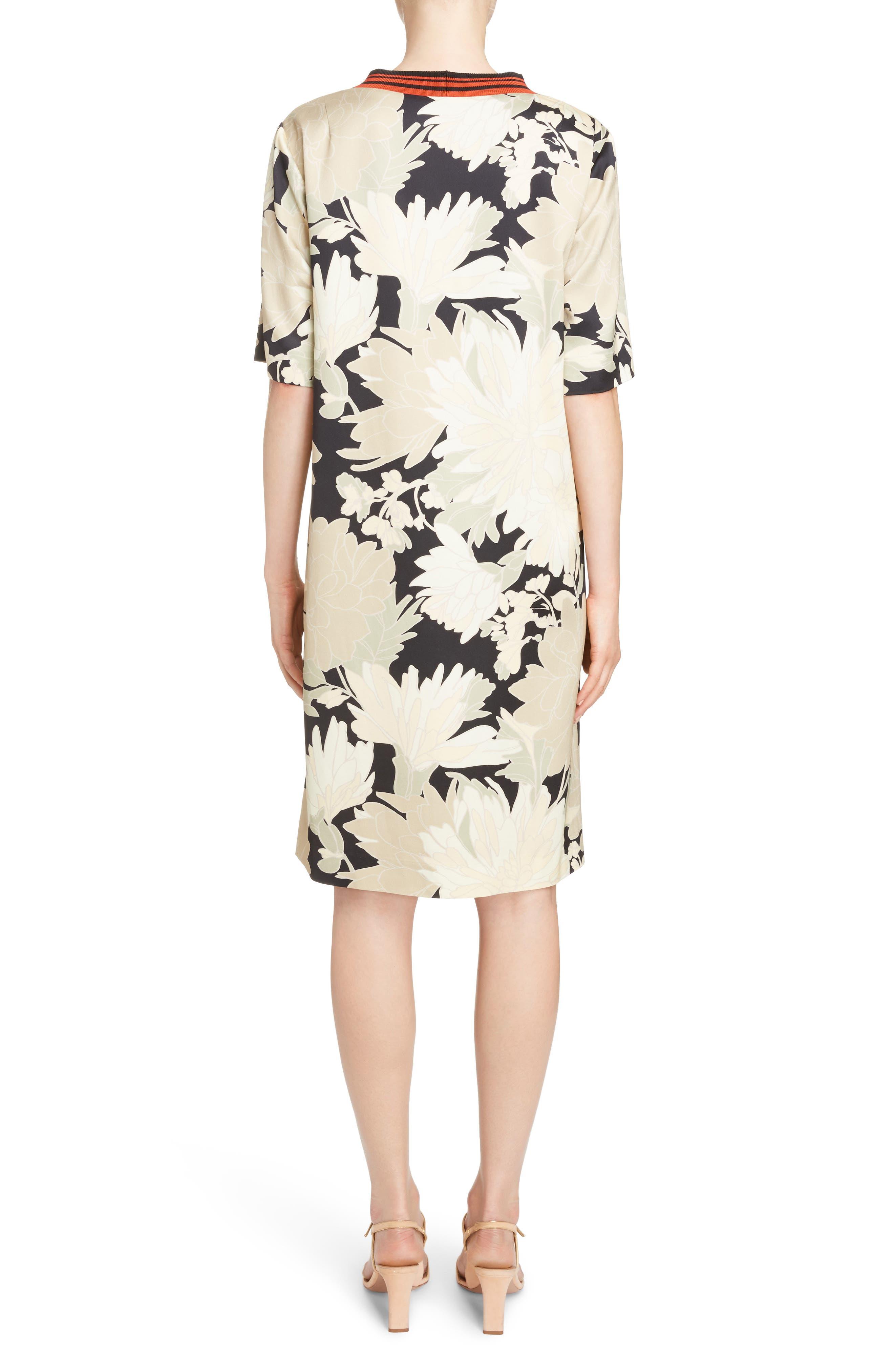 Knit Trim Floral Dress,                             Alternate thumbnail 2, color,                             Black