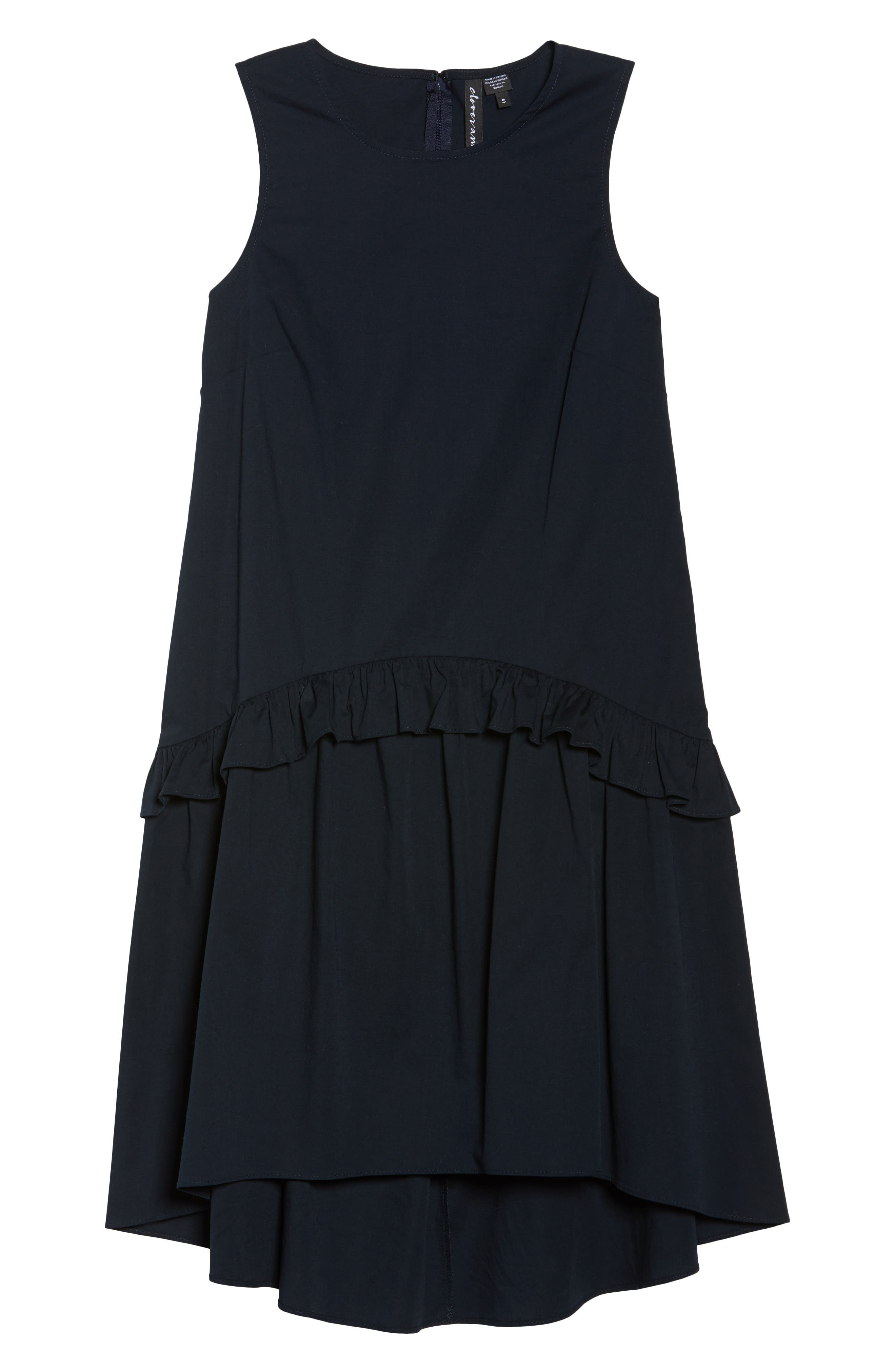Sleeveless Ruffle High/Low Dress,                             Alternate thumbnail 6, color,                             Dark Navy