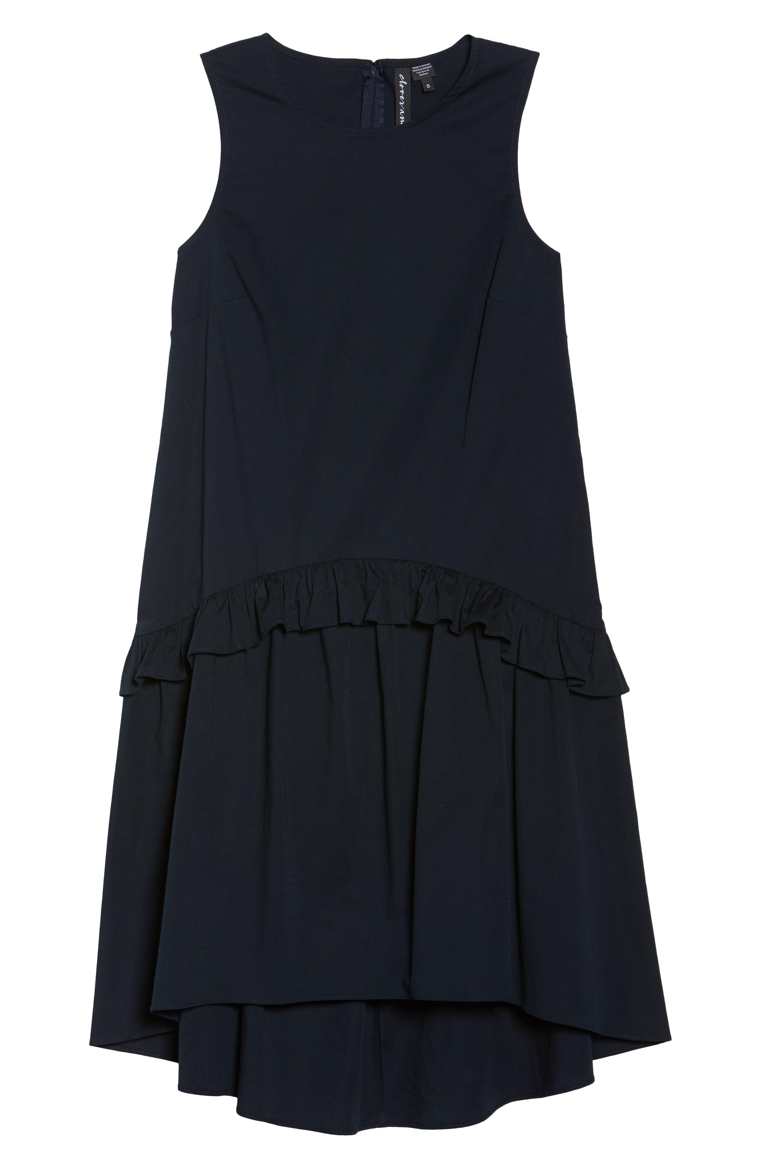 Sleeveless Ruffle High/Low Dress,                             Alternate thumbnail 7, color,                             Dark Navy