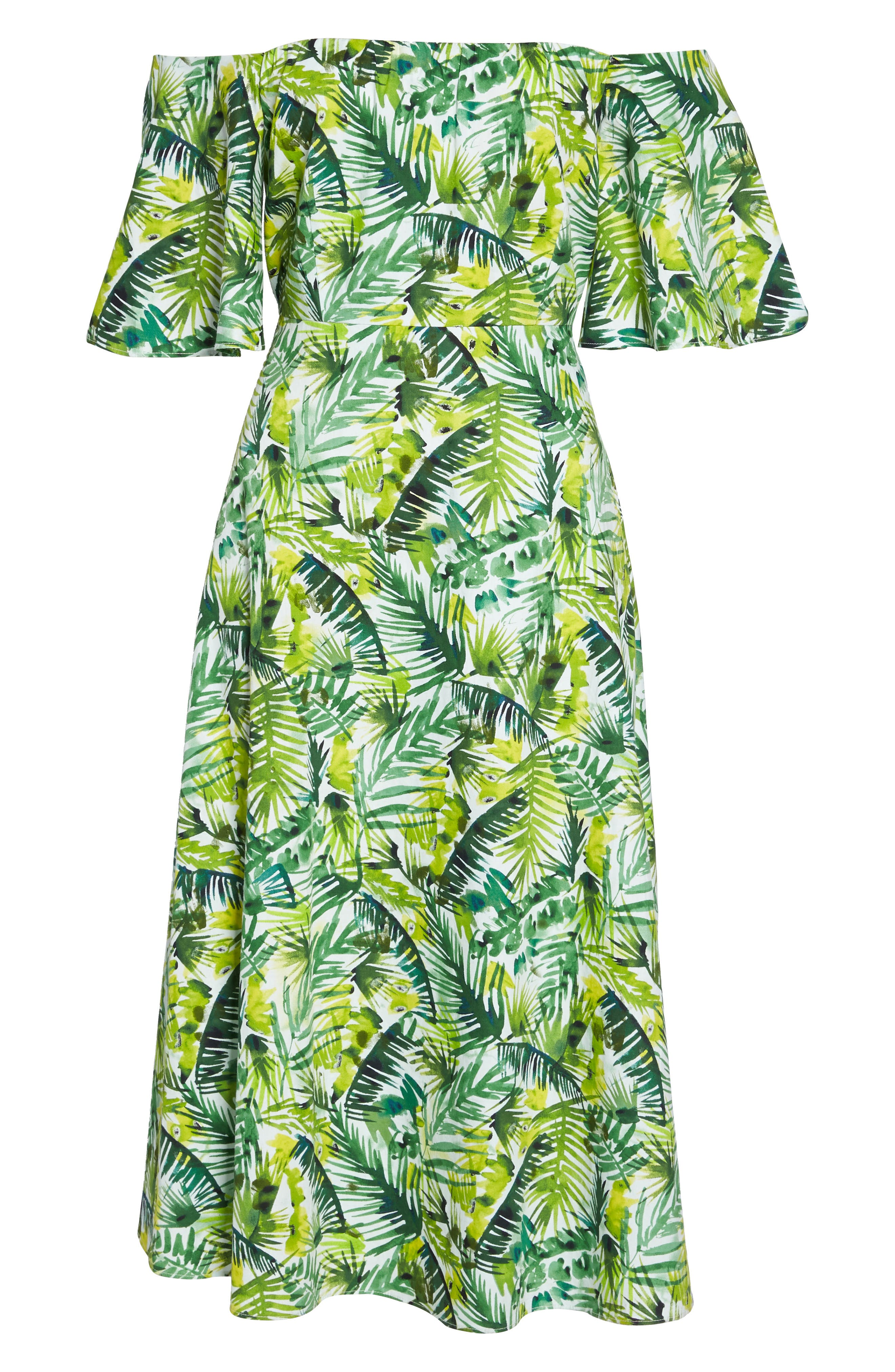 Palm Print Off the Shoulder Dress,                             Alternate thumbnail 6, color,                             Soft White/ Green