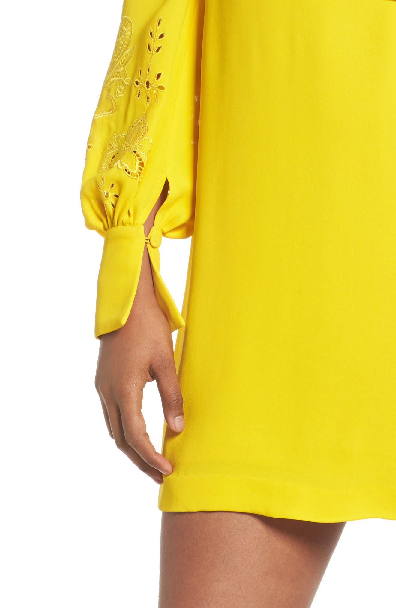 Amrita Crepe Shift Dress,                             Alternate thumbnail 4, color,                             Citrus