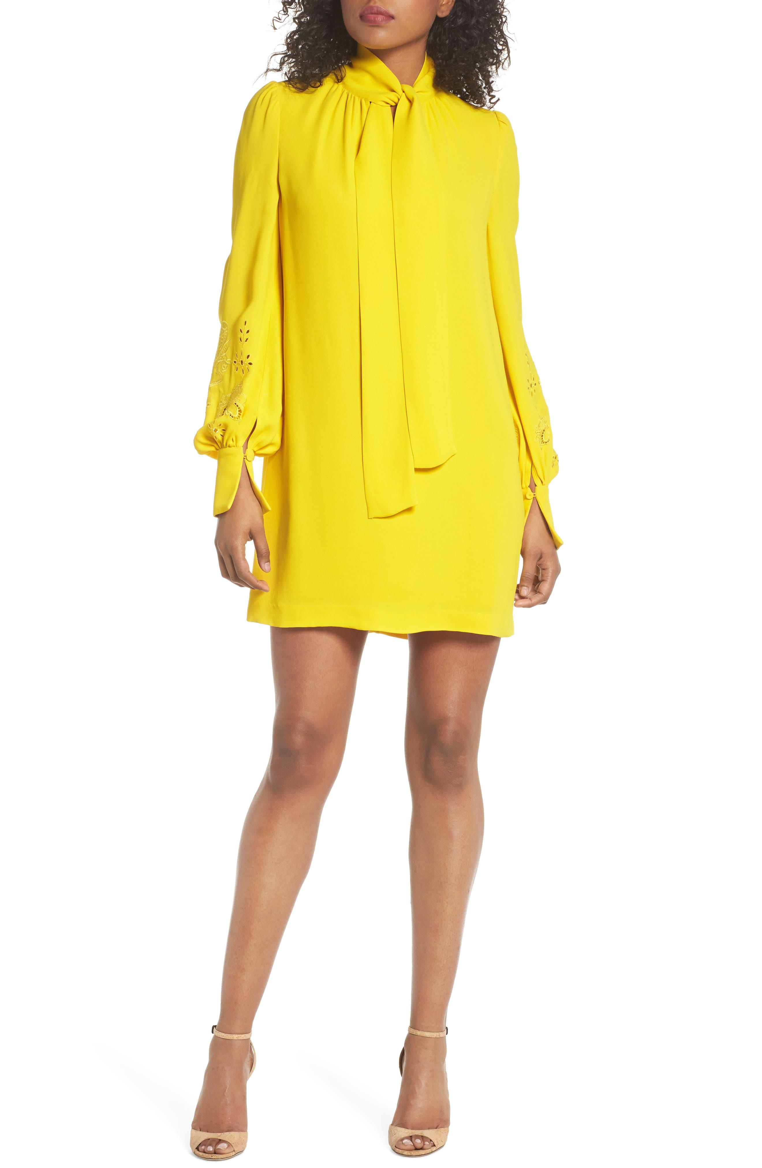 Amrita Crepe Shift Dress,                             Main thumbnail 1, color,                             Citrus