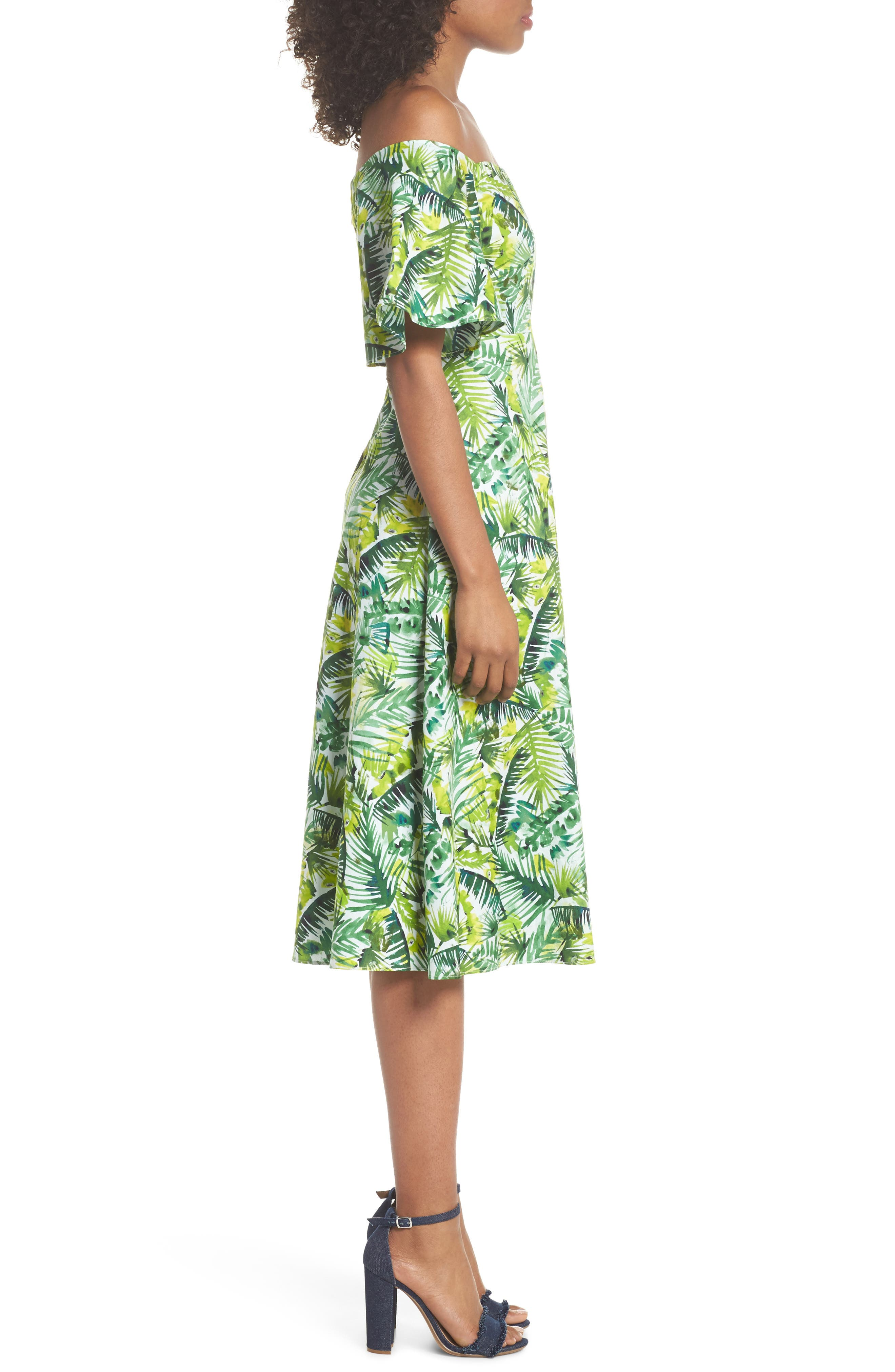 Palm Print Off the Shoulder Dress,                             Alternate thumbnail 3, color,                             Soft White/ Green