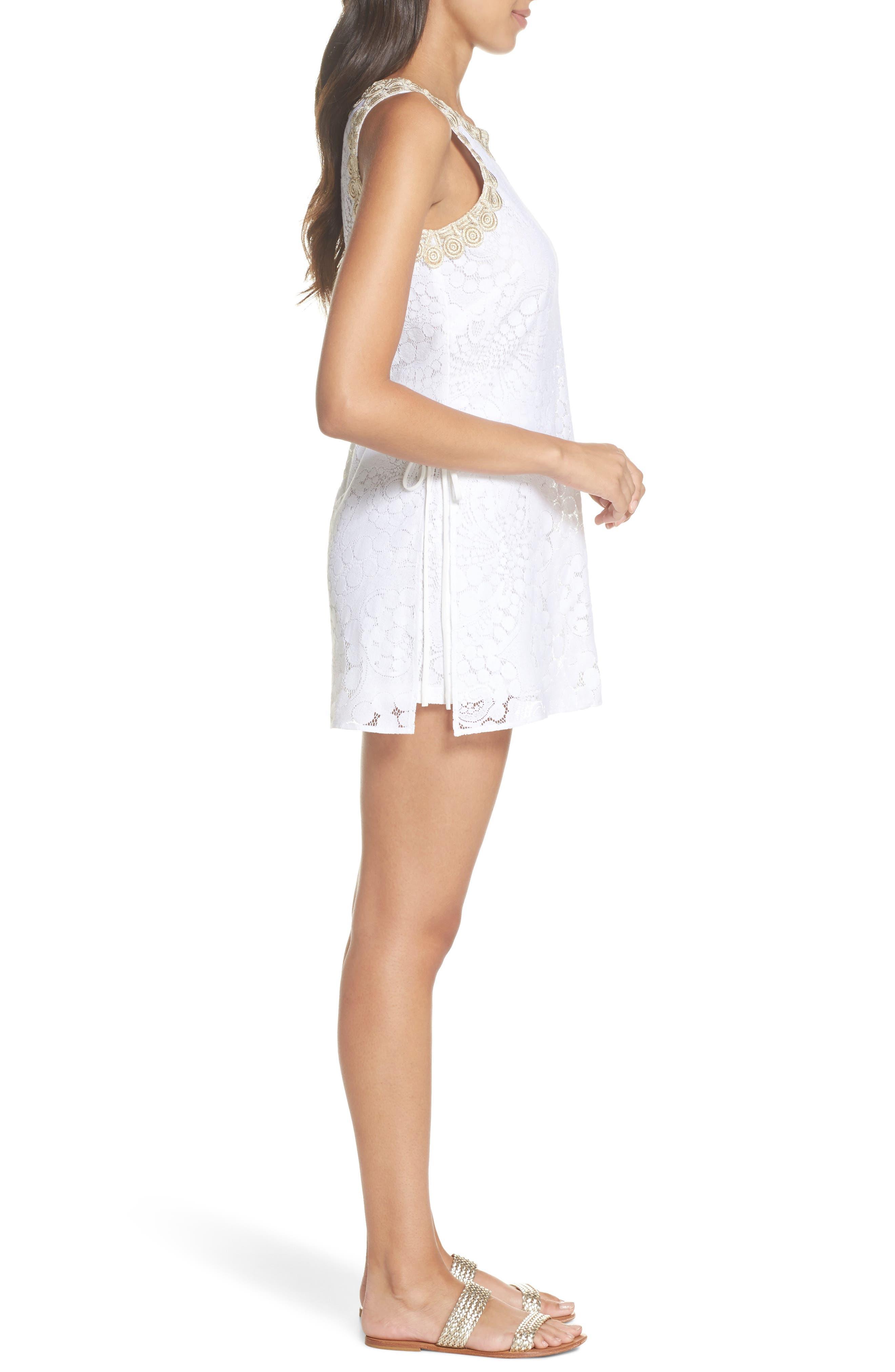 Donna Lace Romper,                             Alternate thumbnail 3, color,                             Resort White Mocean Lace