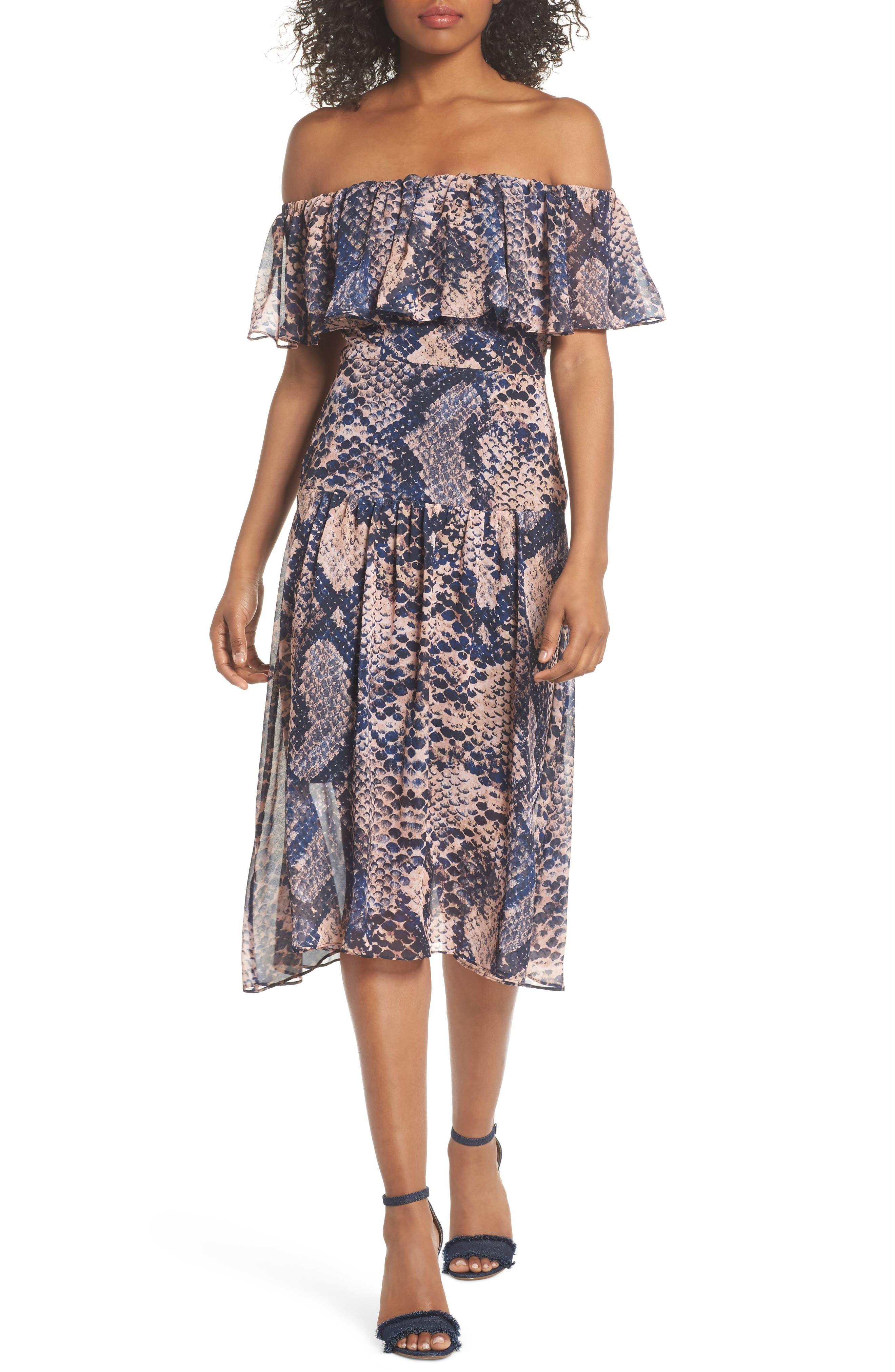 Boa Off the Shoulder Dress,                         Main,                         color, Print Light
