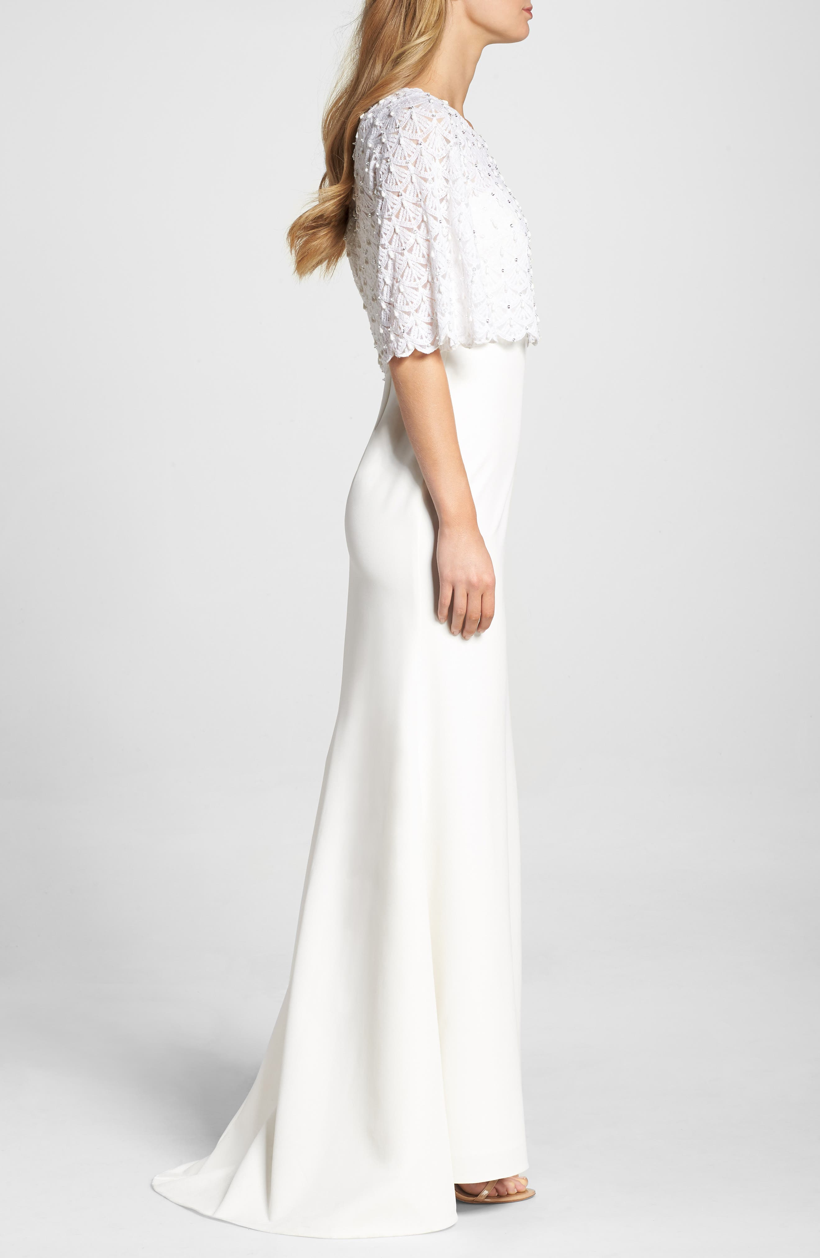 Elbow Sleeve Lace Overlay Gown,                             Alternate thumbnail 3, color,                             Cream