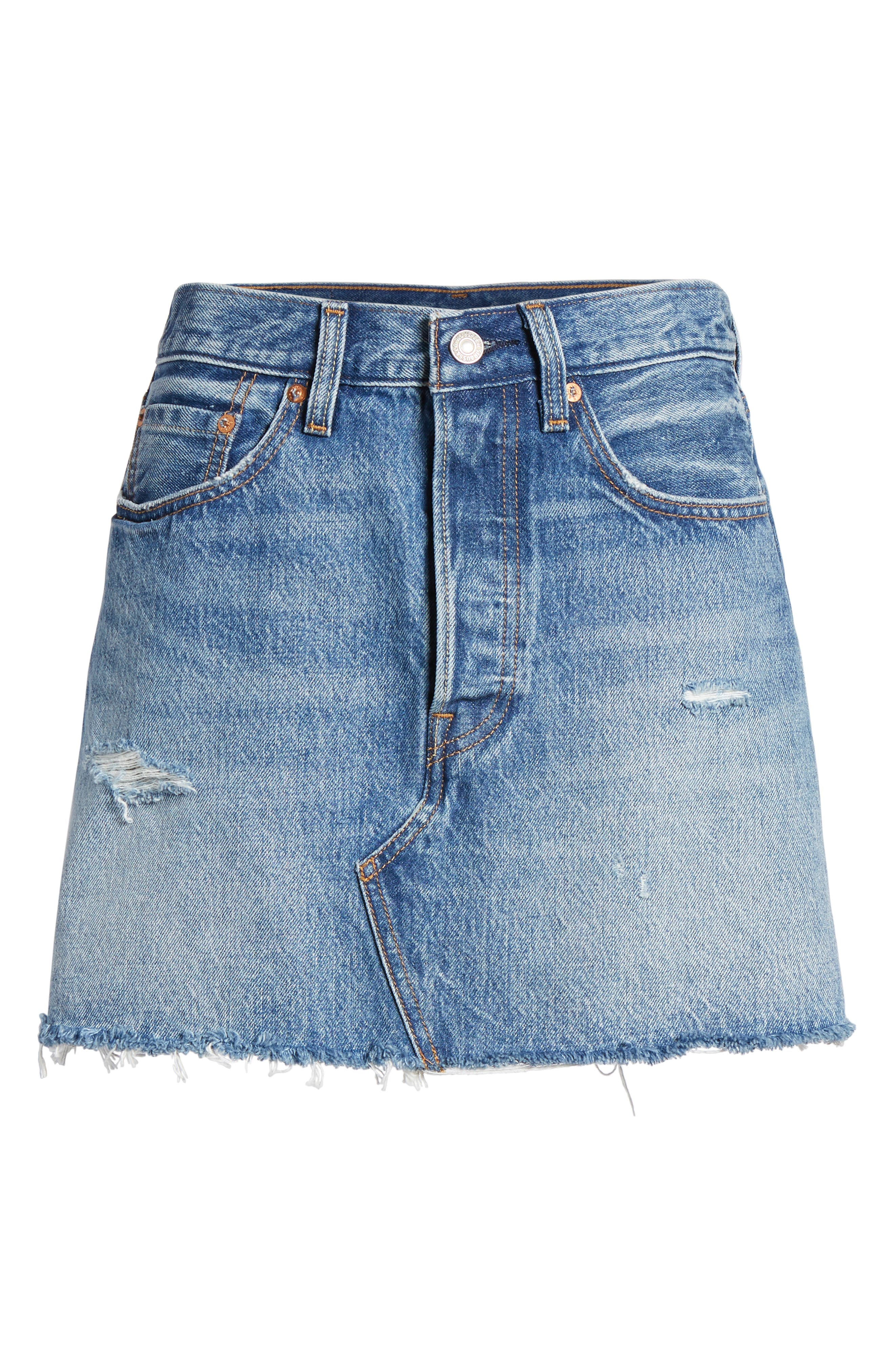 Distressed Denim Skirt,                             Alternate thumbnail 6, color,                             Hole In One