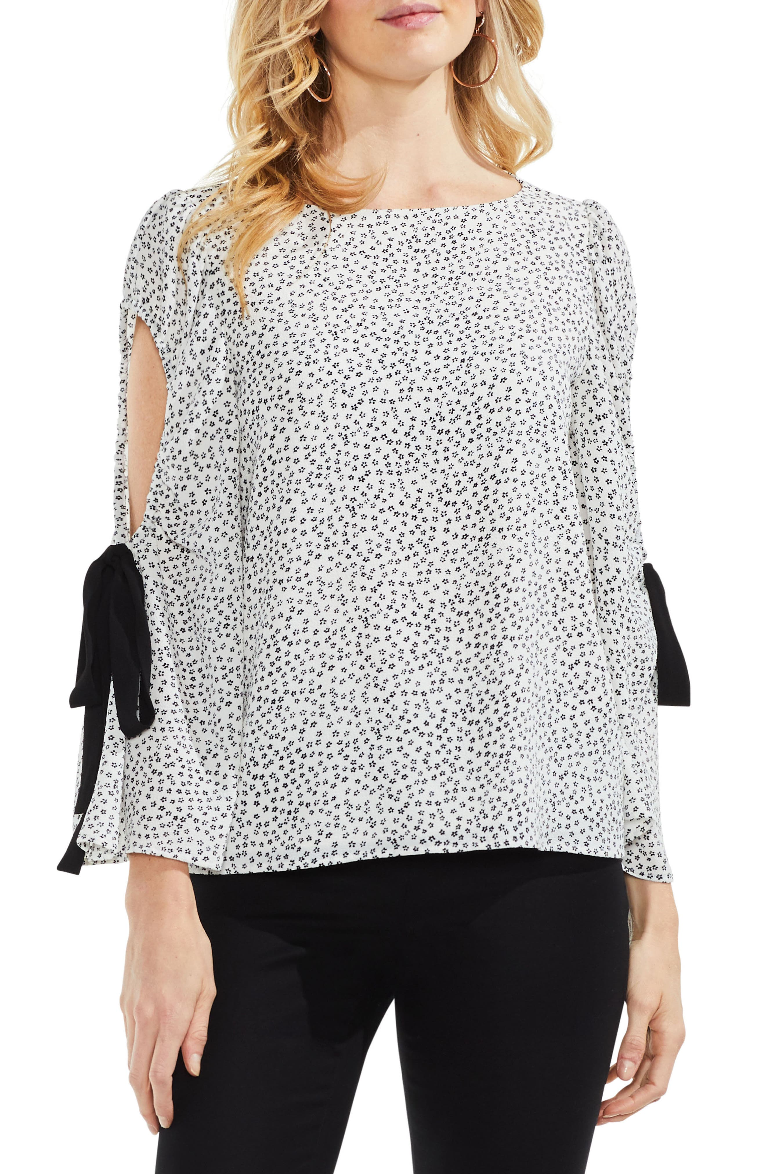 Floral Bell Sleeve Cold Shoulder Top,                             Main thumbnail 1, color,                             New Ivory