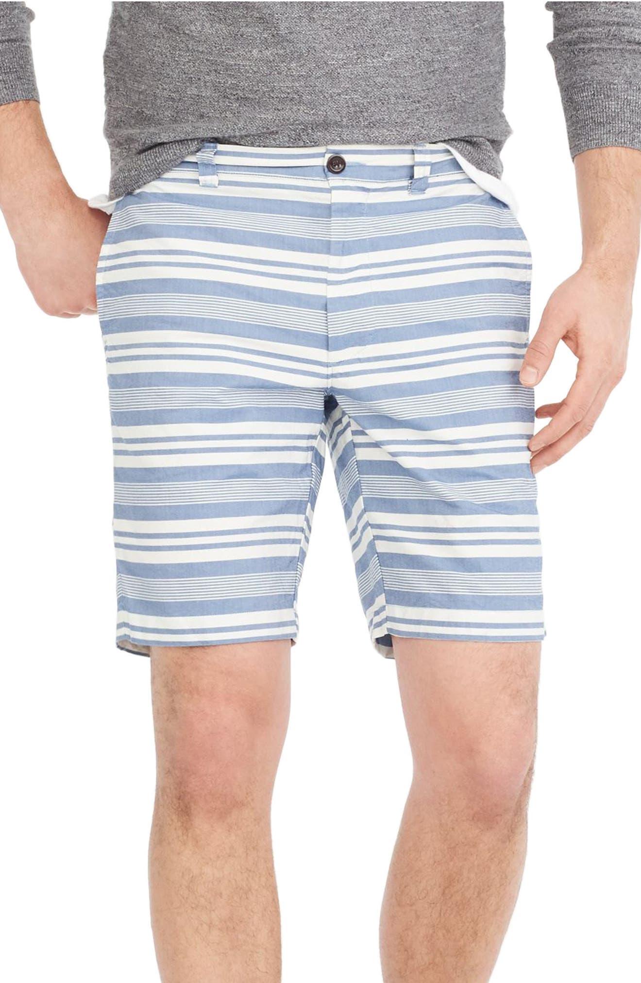Stripe Oxford Shorts,                             Main thumbnail 1, color,                             White/ Blue