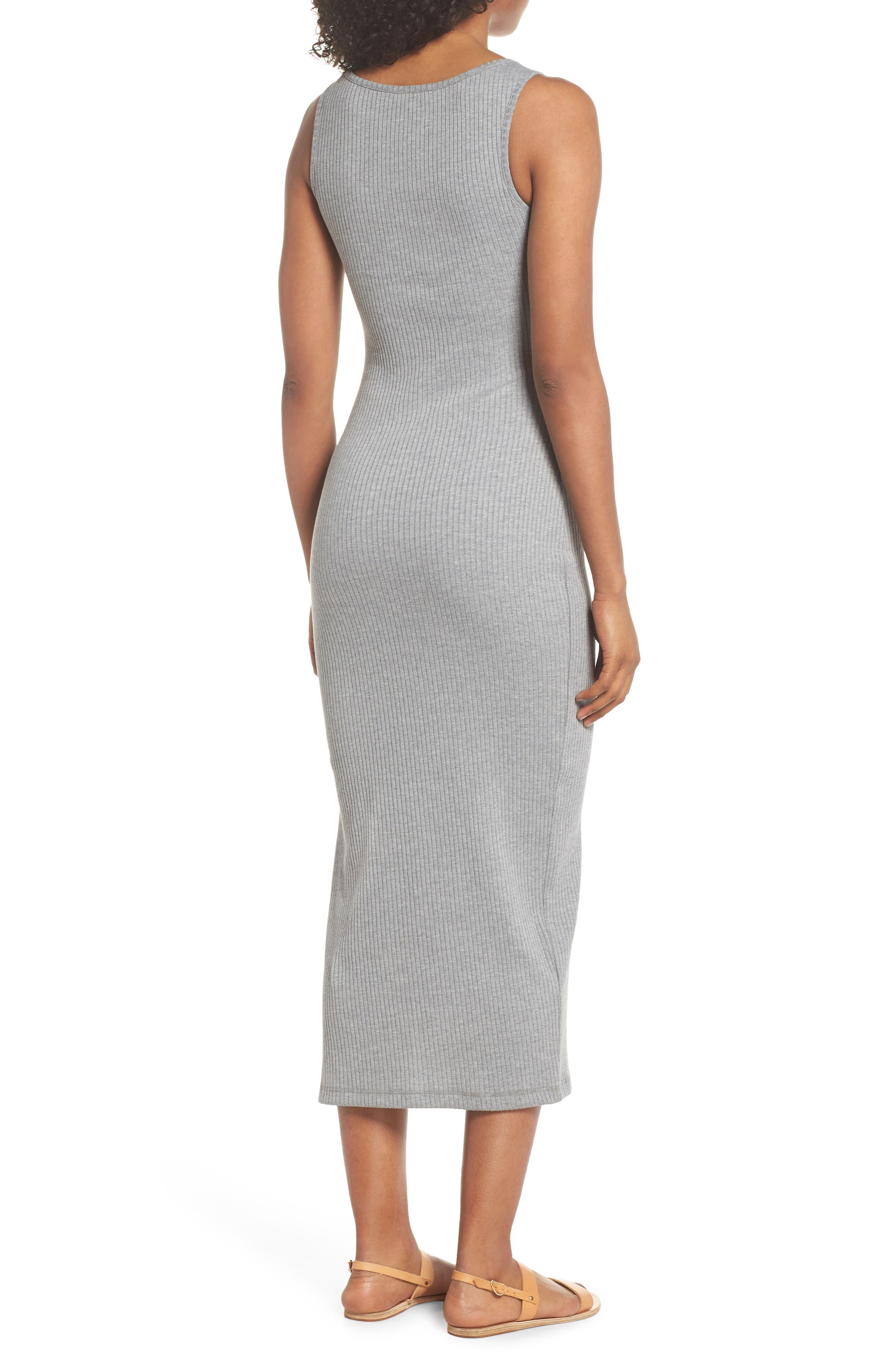Tommy Rib Knit Tank Dress,                             Alternate thumbnail 2, color,                             Mid Grey Mel