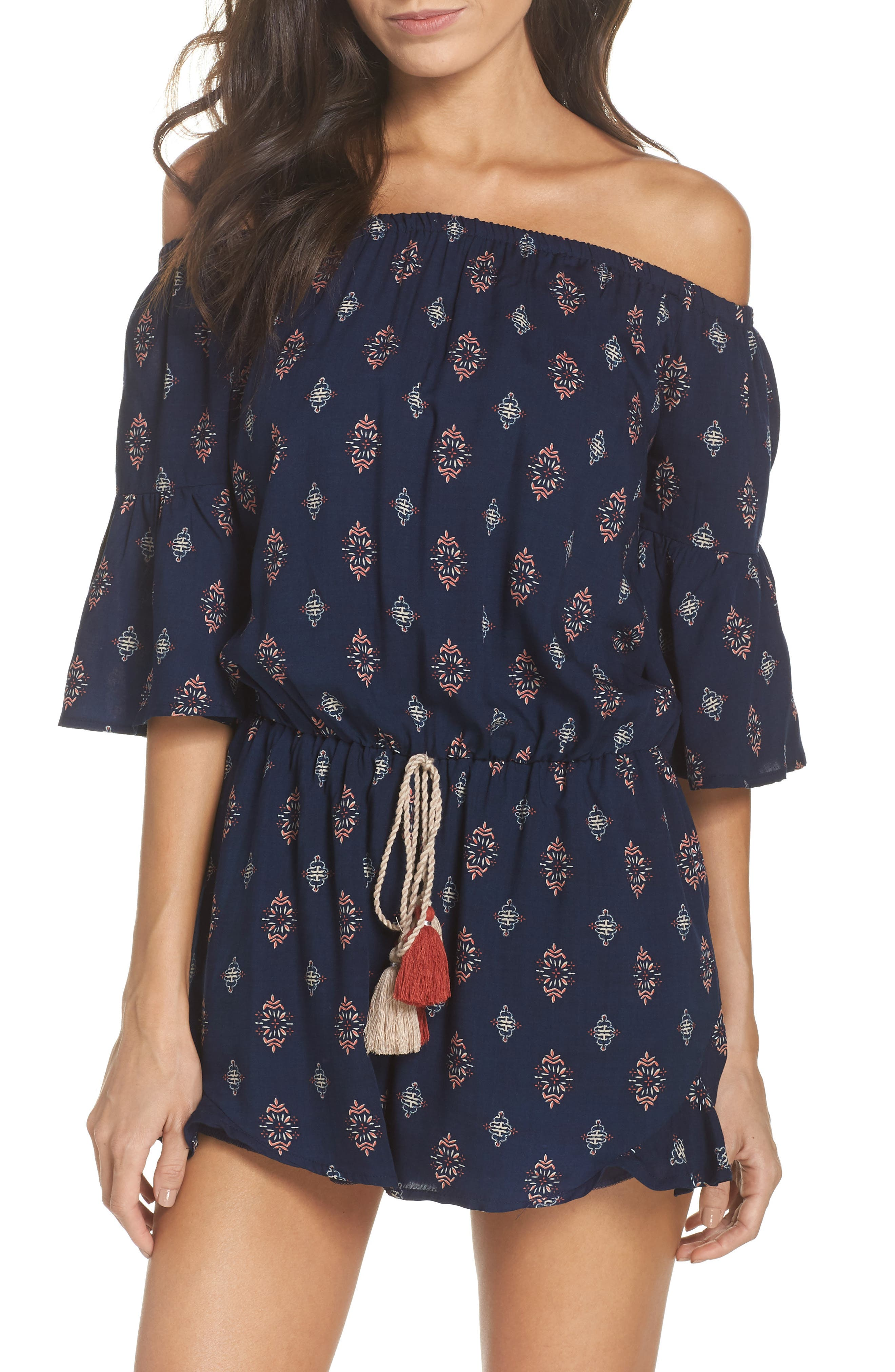 Off the Shoulder Cover-Up Romper,                             Main thumbnail 1, color,                             Navy Ornate
