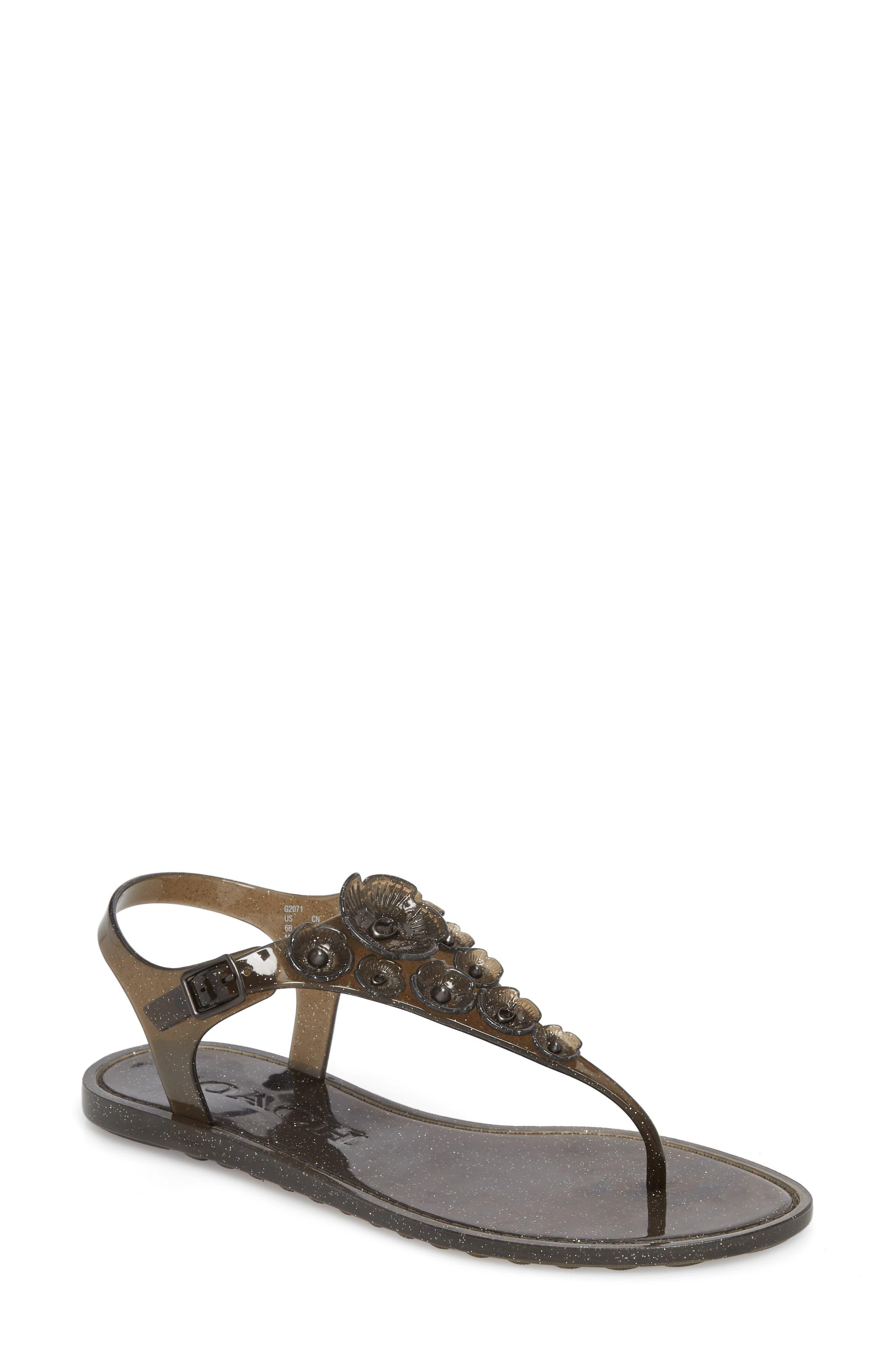 Tea Rose Sandal,                         Main,                         color, Black Glitter Jelly