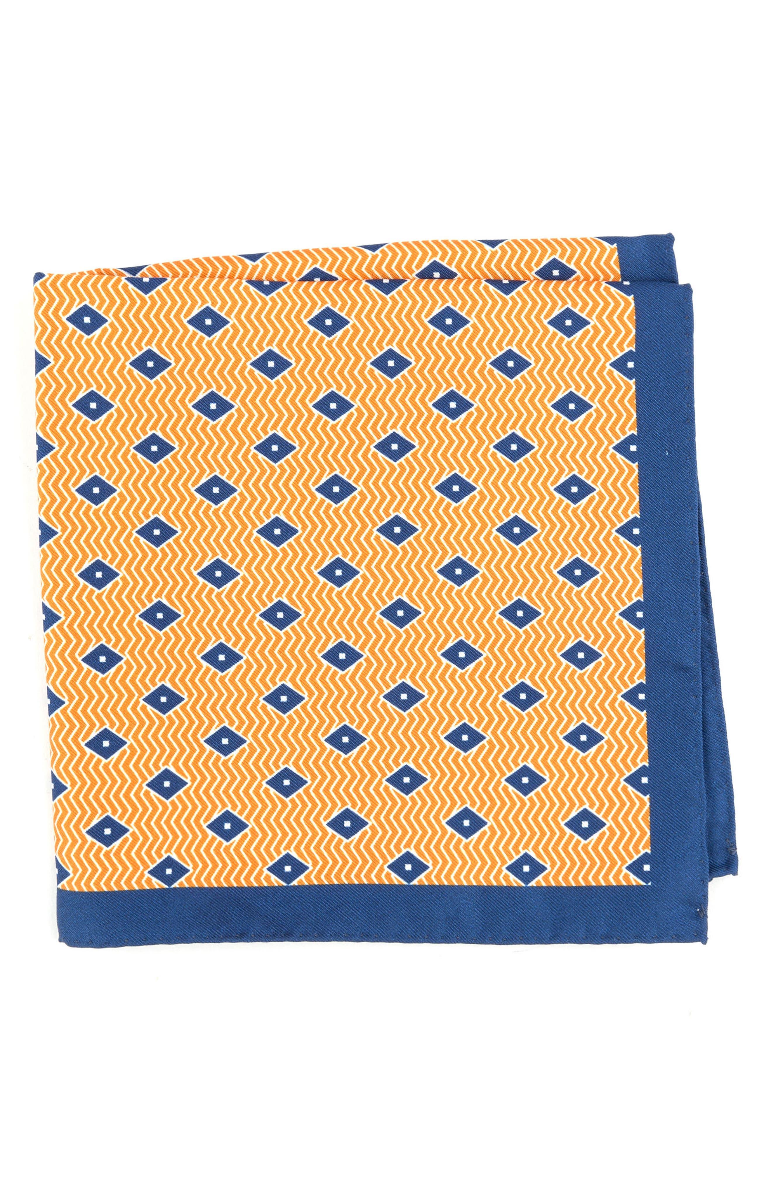 Diamond Silk Pocket Square,                         Main,                         color, Orange