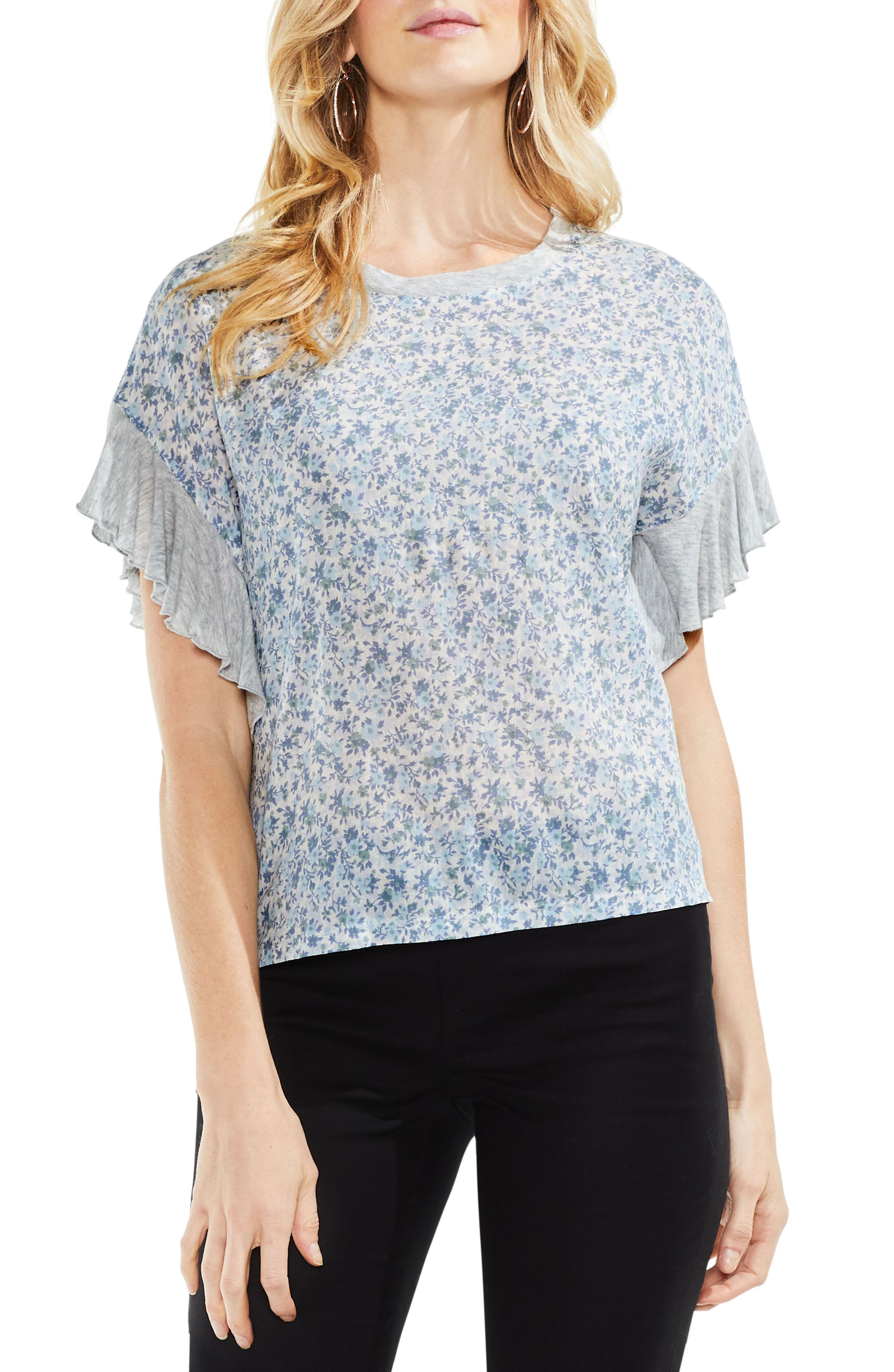 Vince Camuto Floral Woven Front Top