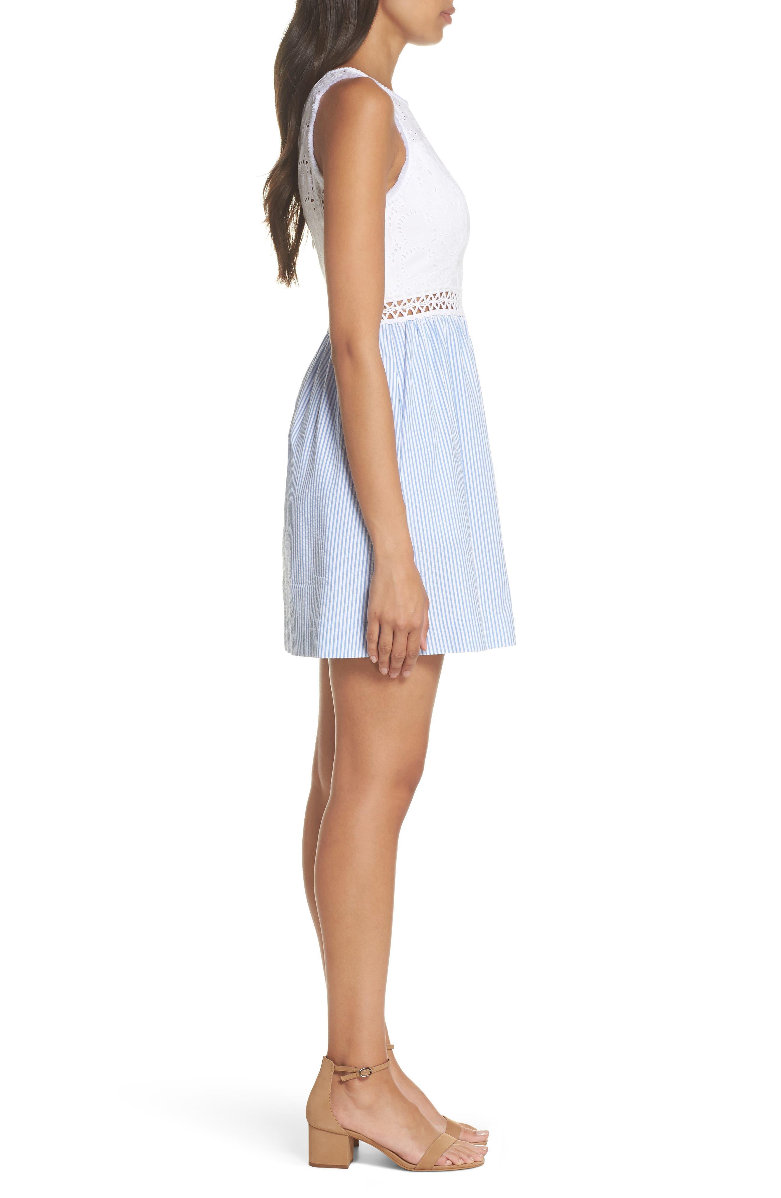 Lilly Pullitzer<sup>®</sup> Alivia Eyelet & Seersucker Fit & Flare Dress,                             Alternate thumbnail 3, color,                             Bennet Blue Yard Dyed Stripe