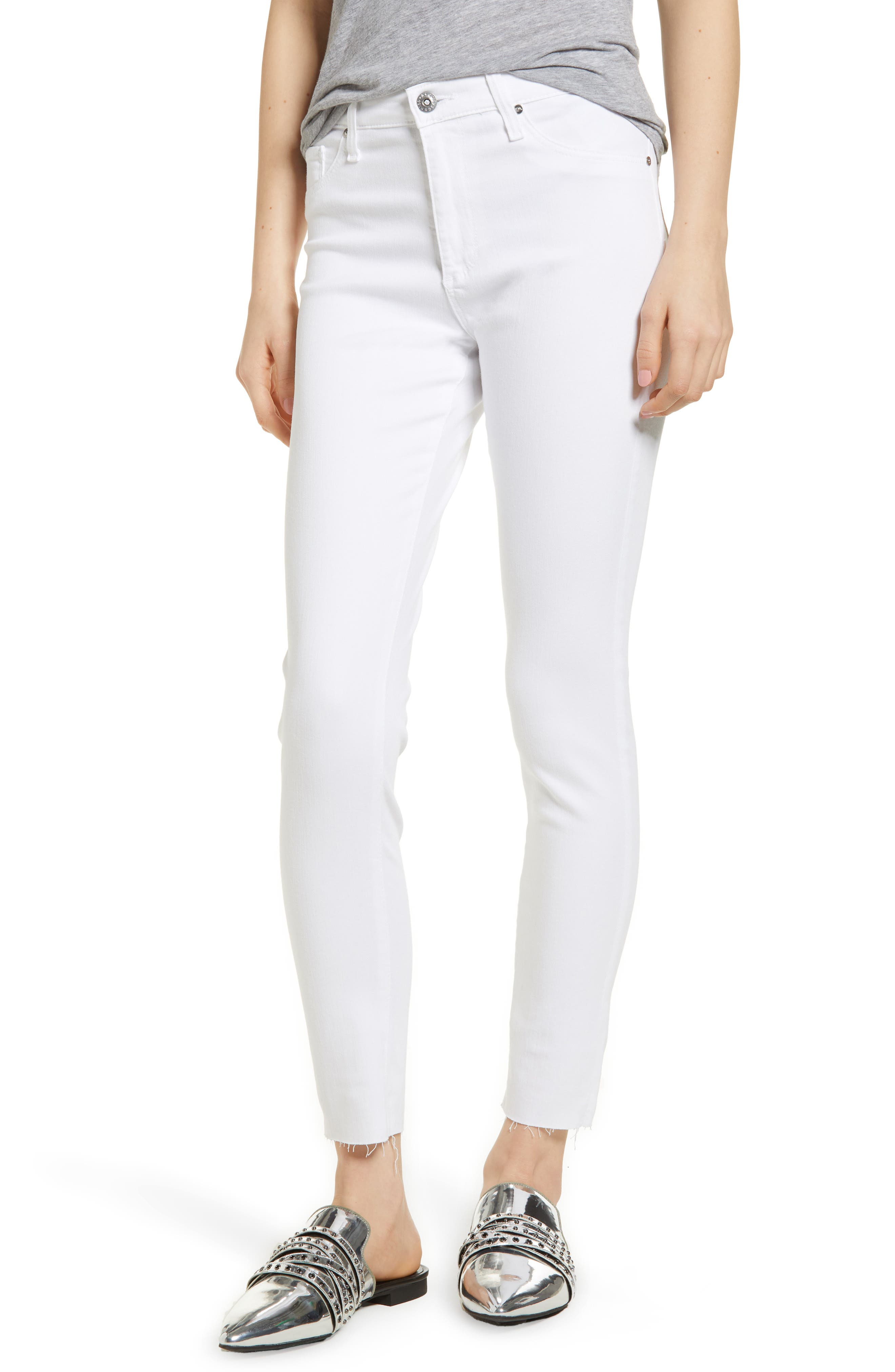 The Farrah High Waist Ankle Skinny Jeans,                             Main thumbnail 1, color,                             Uncharted White