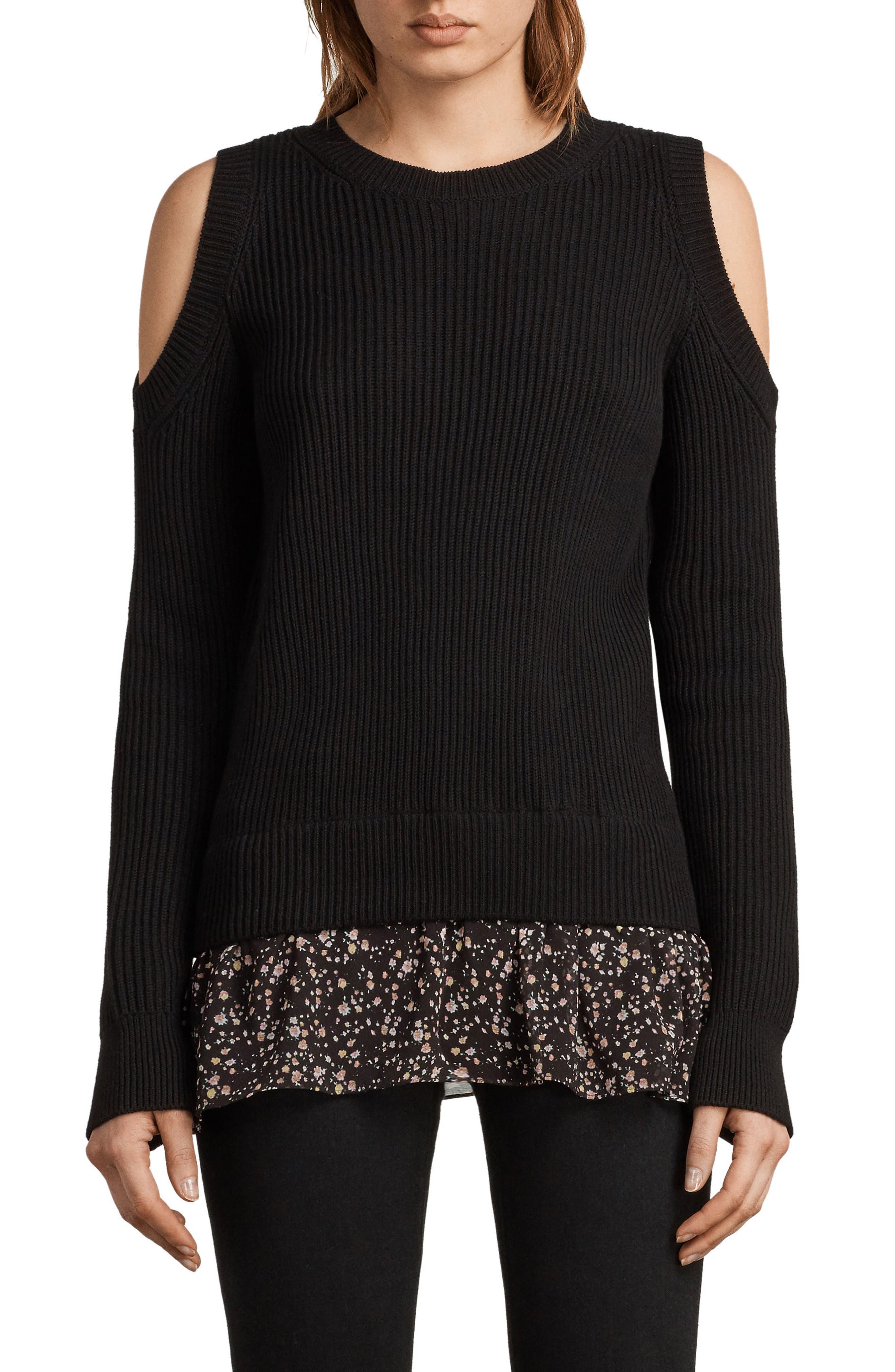 Pepper Cold Shoulder Sweater,                         Main,                         color, Black