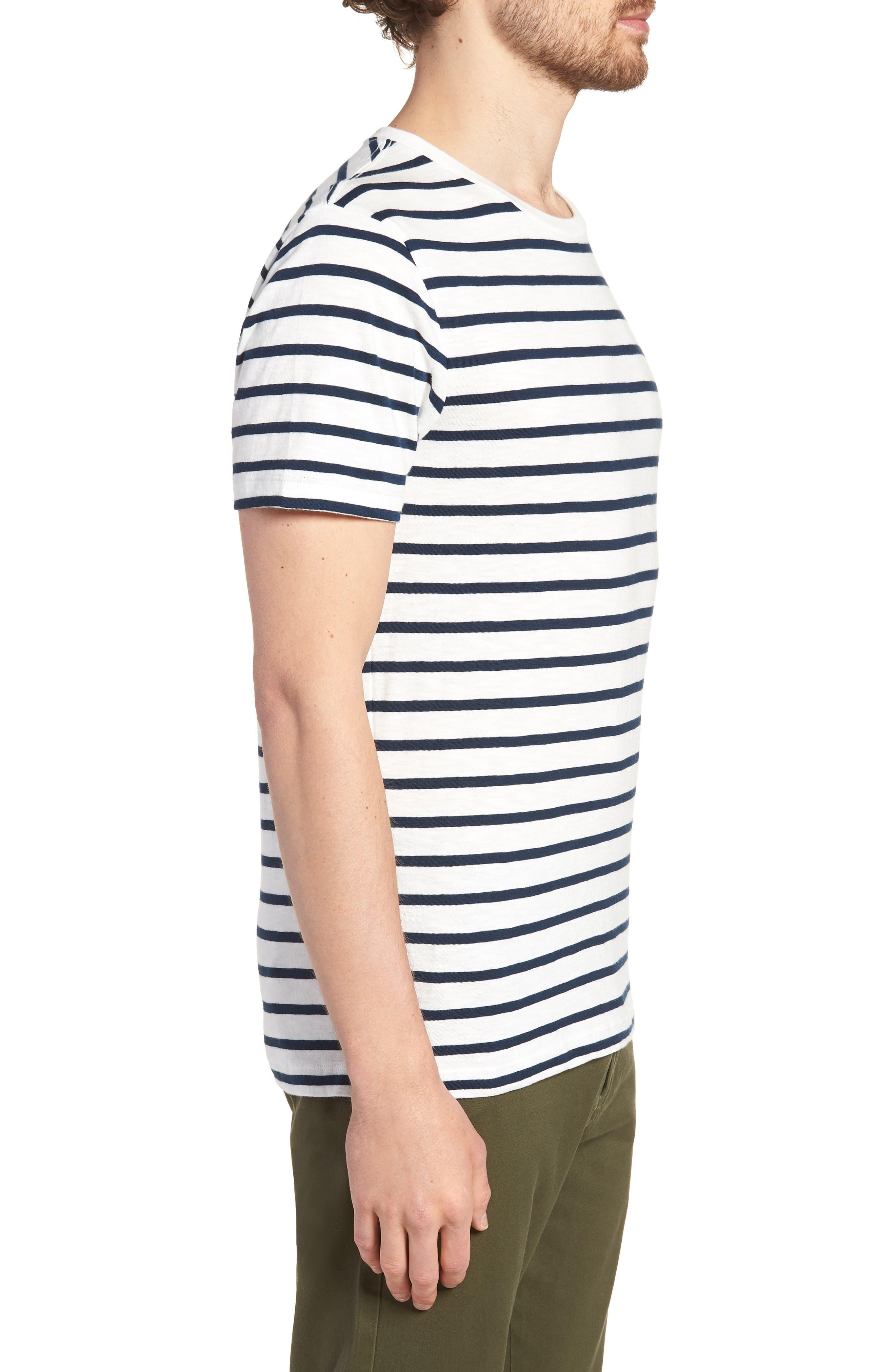 Deck Stripe Slub Cotton T-Shirt,                             Alternate thumbnail 3, color,                             Mountain White