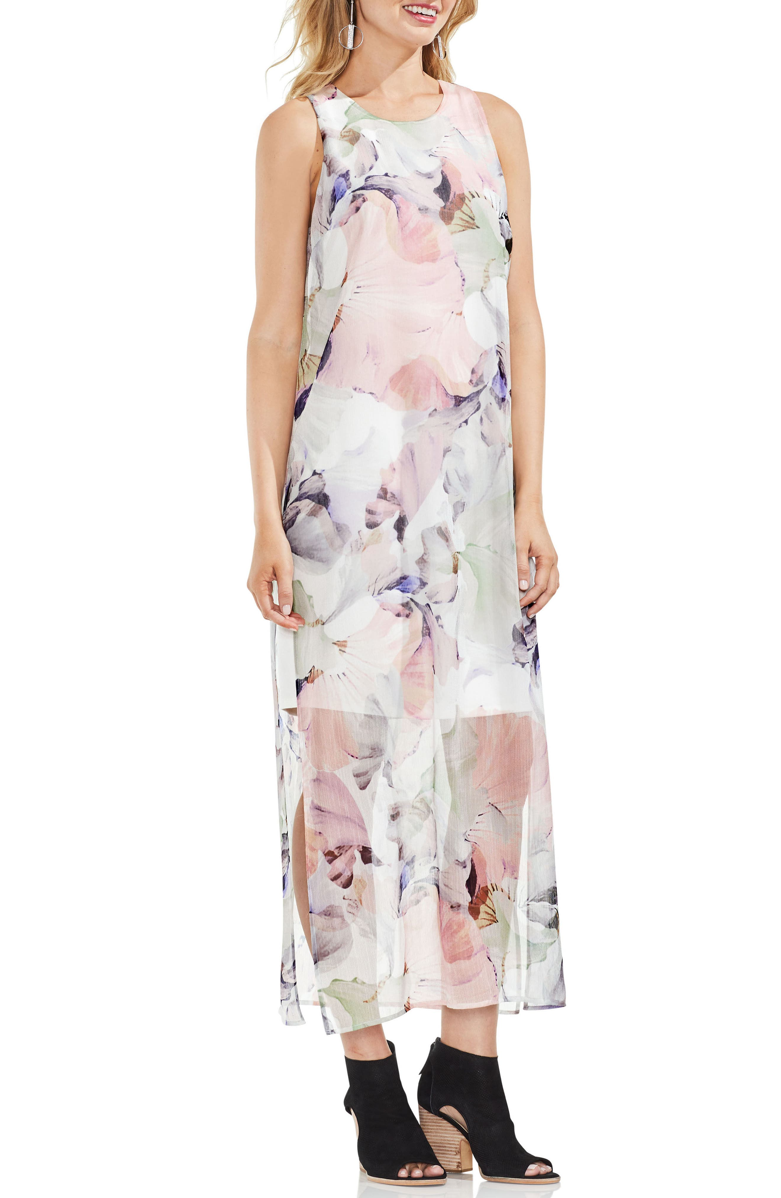 Diffused Blooms Underlayer Sleeveless Maxi Dress,                         Main,                         color, New Ivory