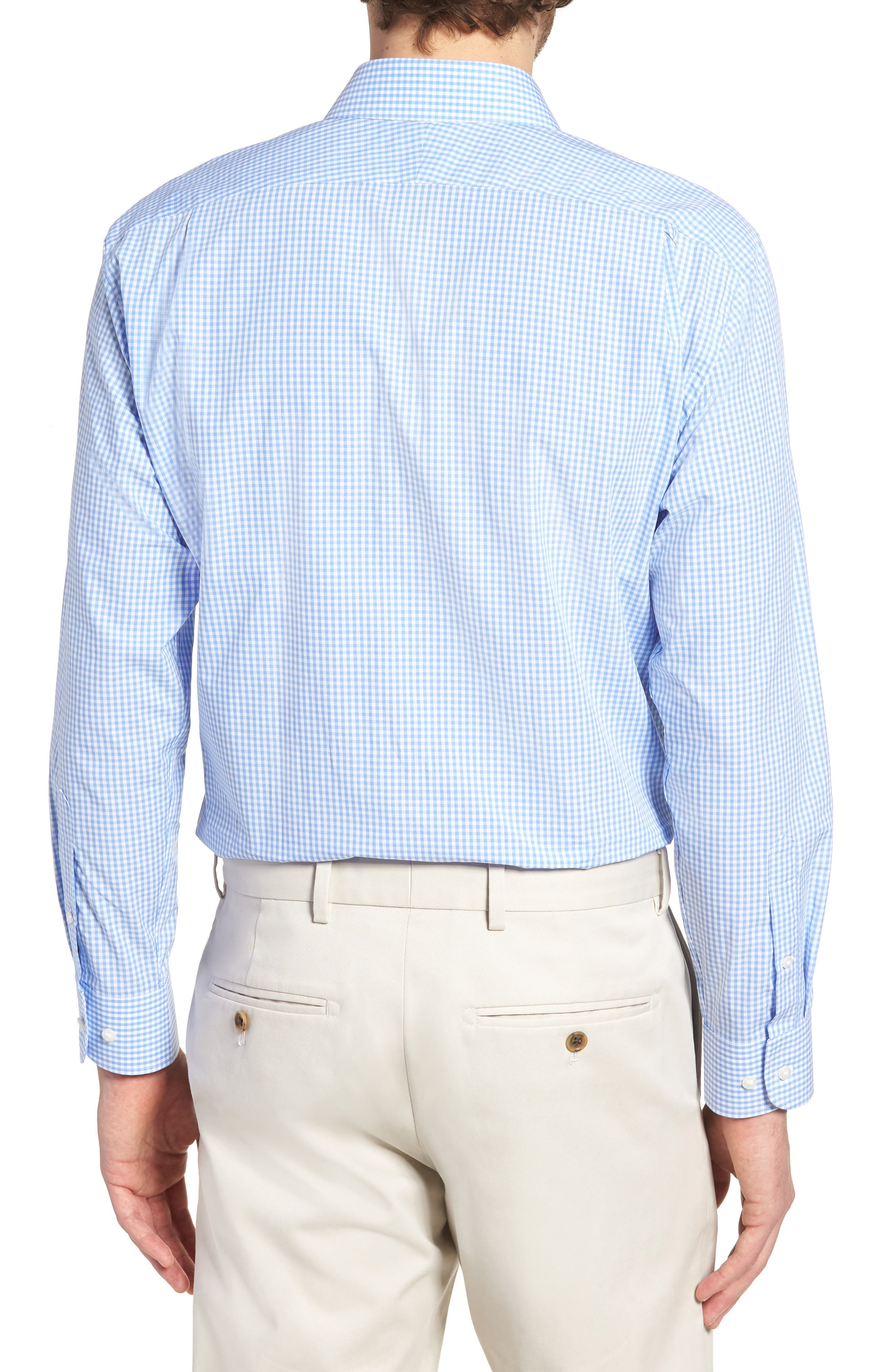 Trim Fit Check Dress Shirt,                             Alternate thumbnail 3, color,                             Blue Cornflower