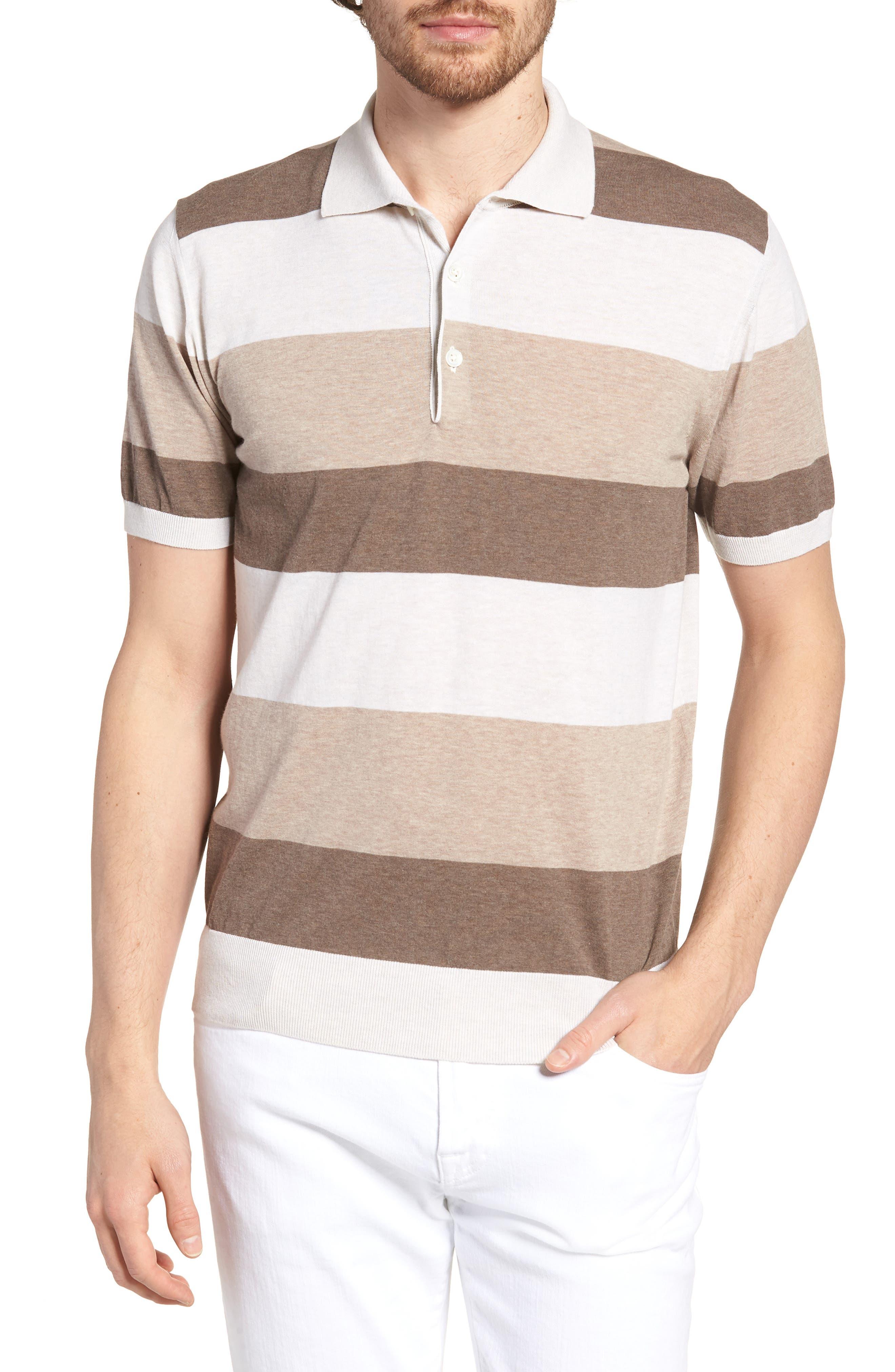 Stripe Polo Shirt,                             Main thumbnail 1, color,                             Brown