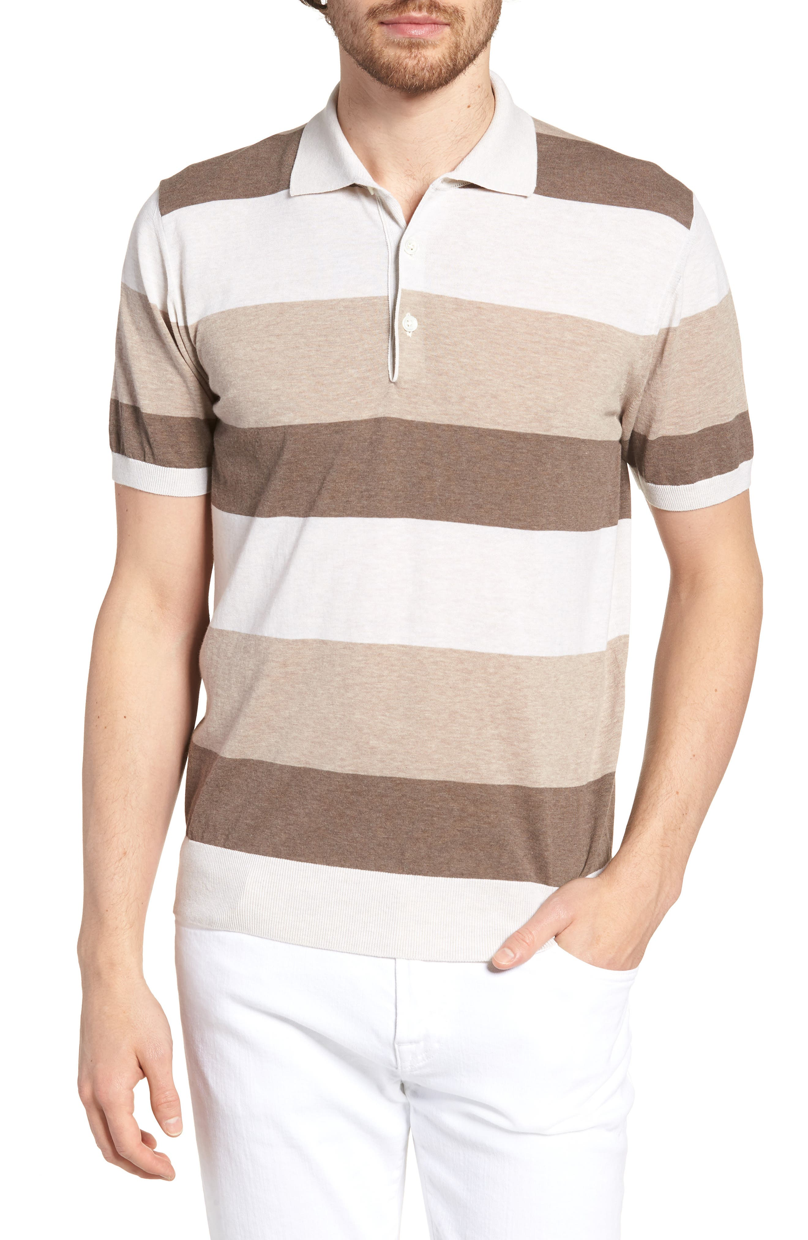 Stripe Polo Shirt,                         Main,                         color, Brown