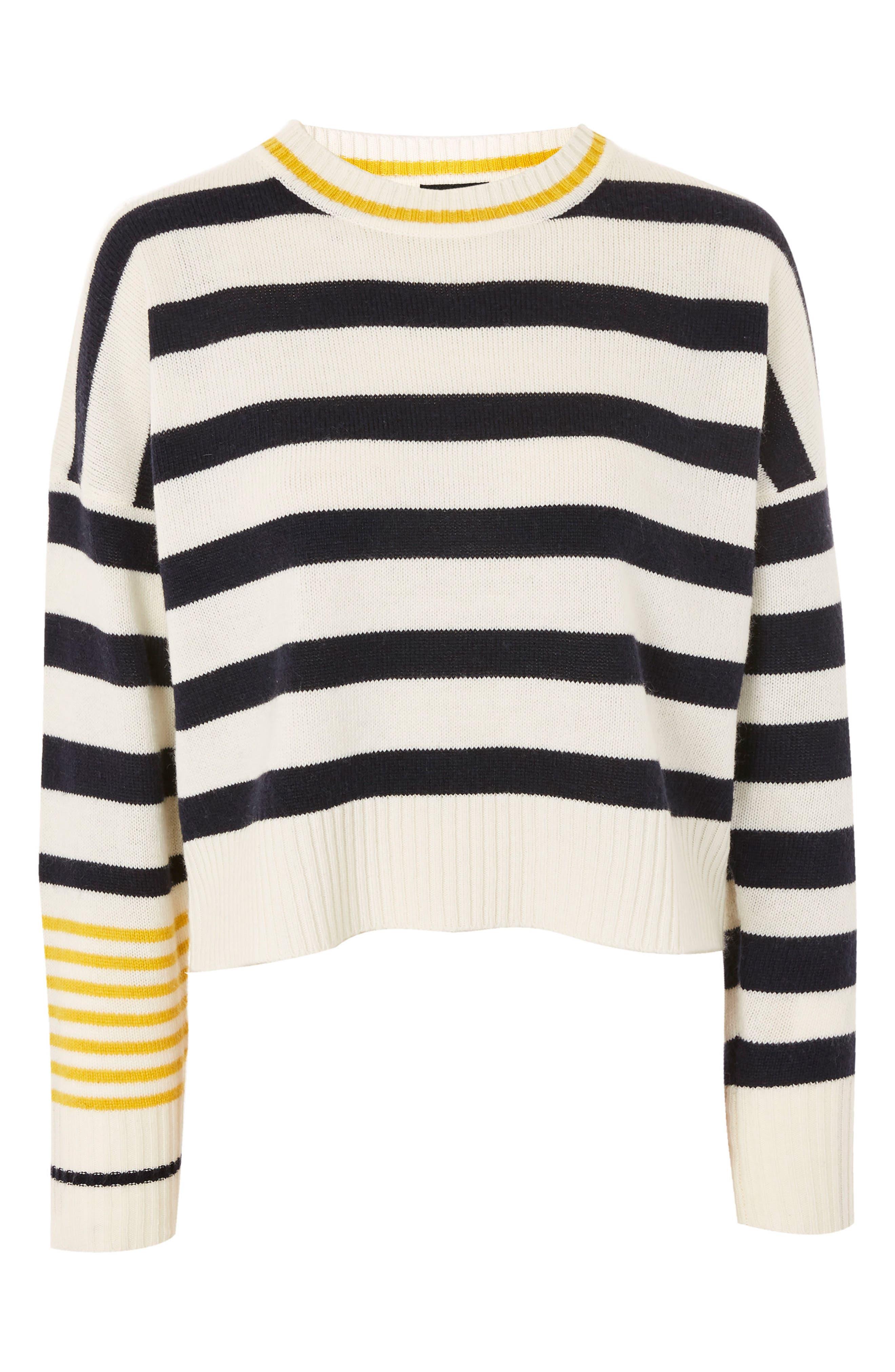Slouchy Stripe Sweater,                             Alternate thumbnail 4, color,                             Navy Blue Multi