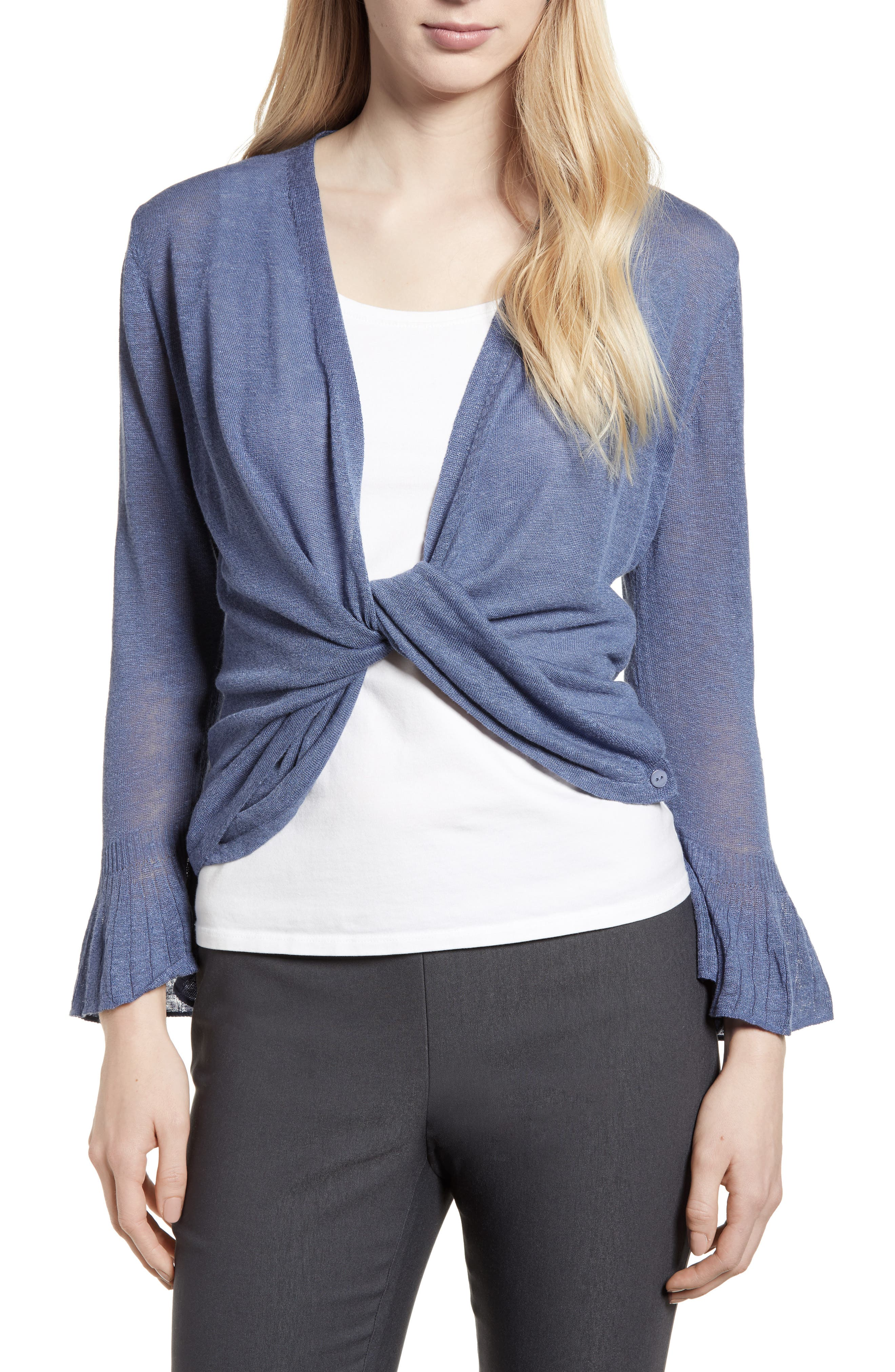 Ruffle Cuff 4-Way Cardigan,                             Alternate thumbnail 2, color,                             Mosaic Blue