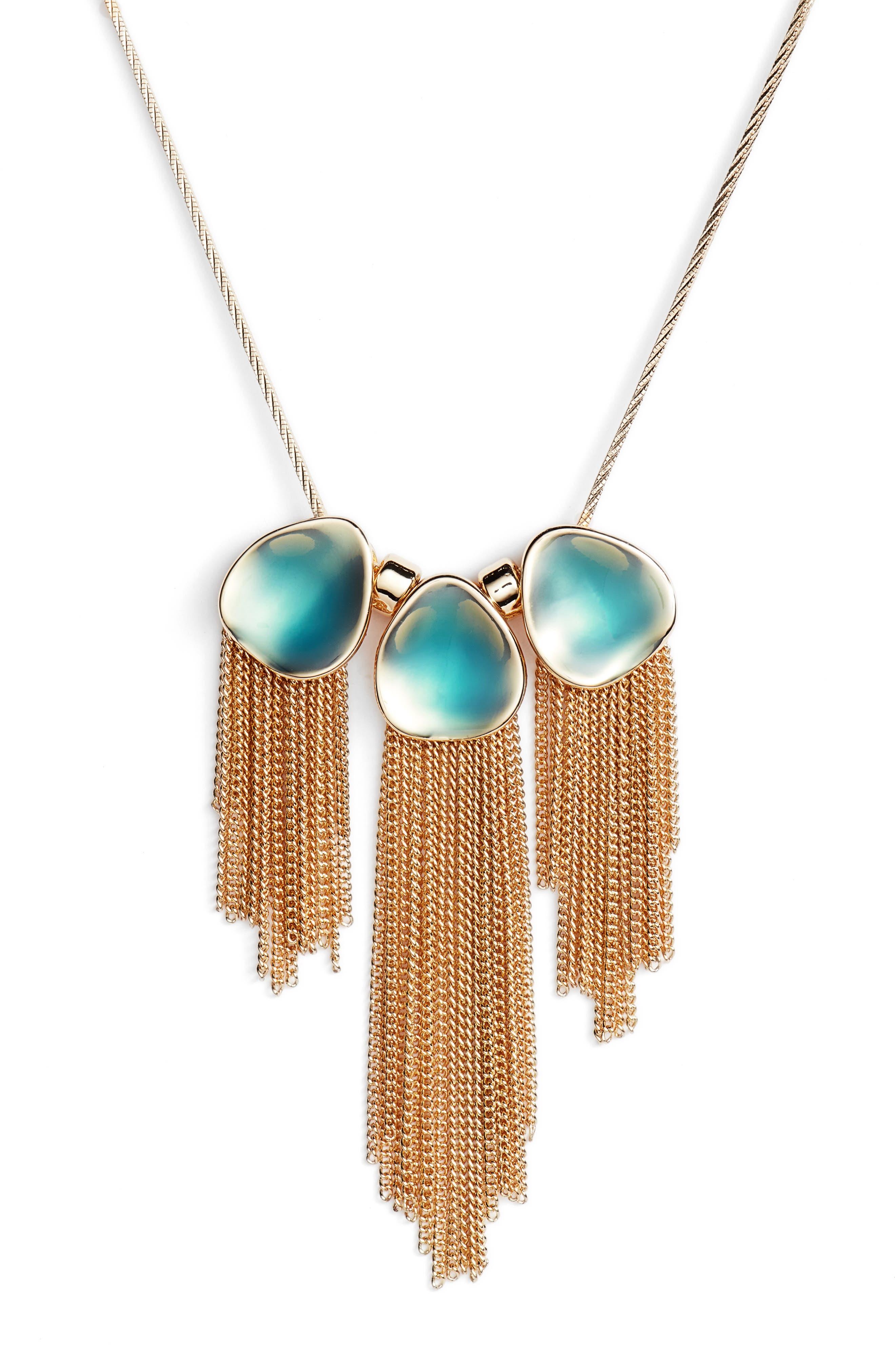 Painted Petal Fringe Necklace,                         Main,                         color, Teal- Gold
