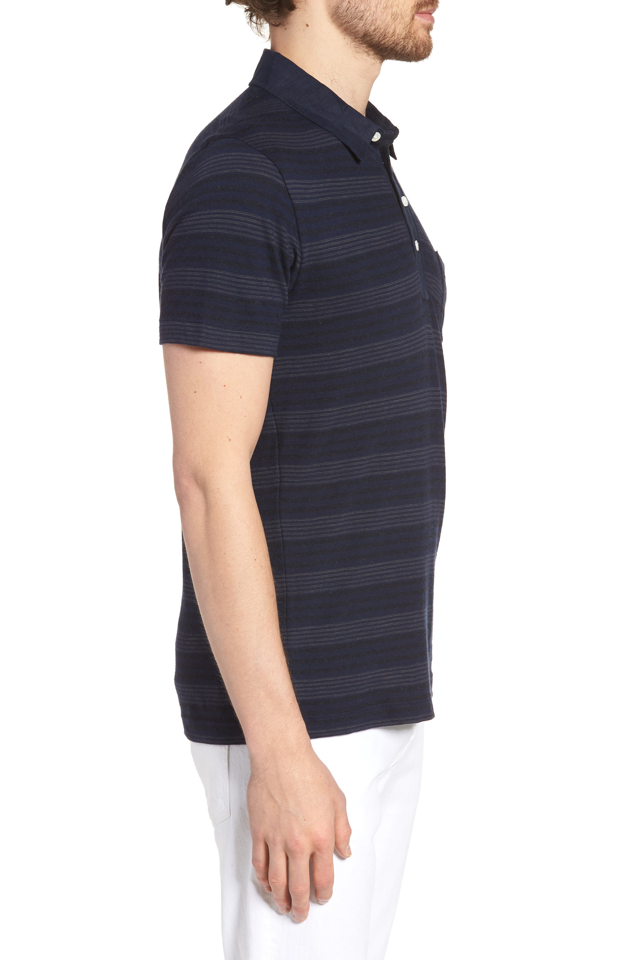 Stripe Cotton & Cashmere Polo Shirt,                             Alternate thumbnail 3, color,                             Navy