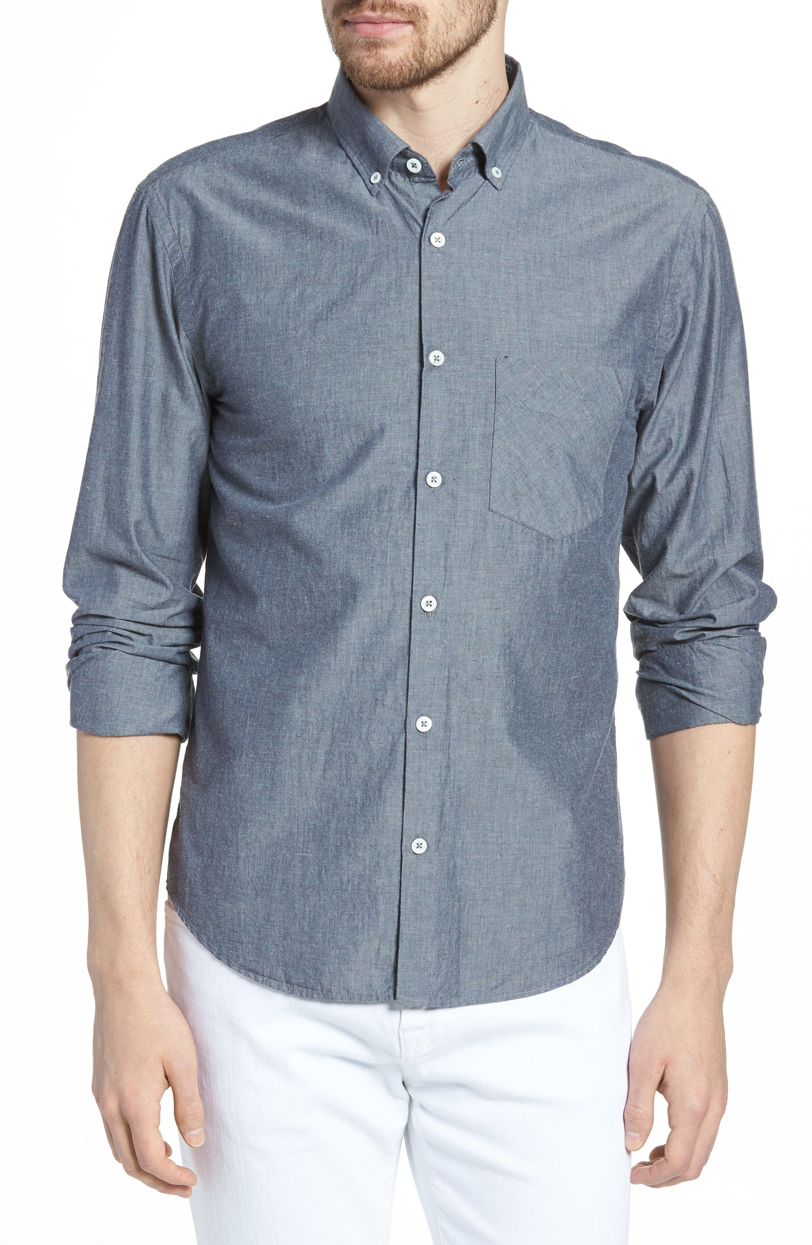 Kirby Slim Fit Solid Sport Shirt,                         Main,                         color, Dark Indigo