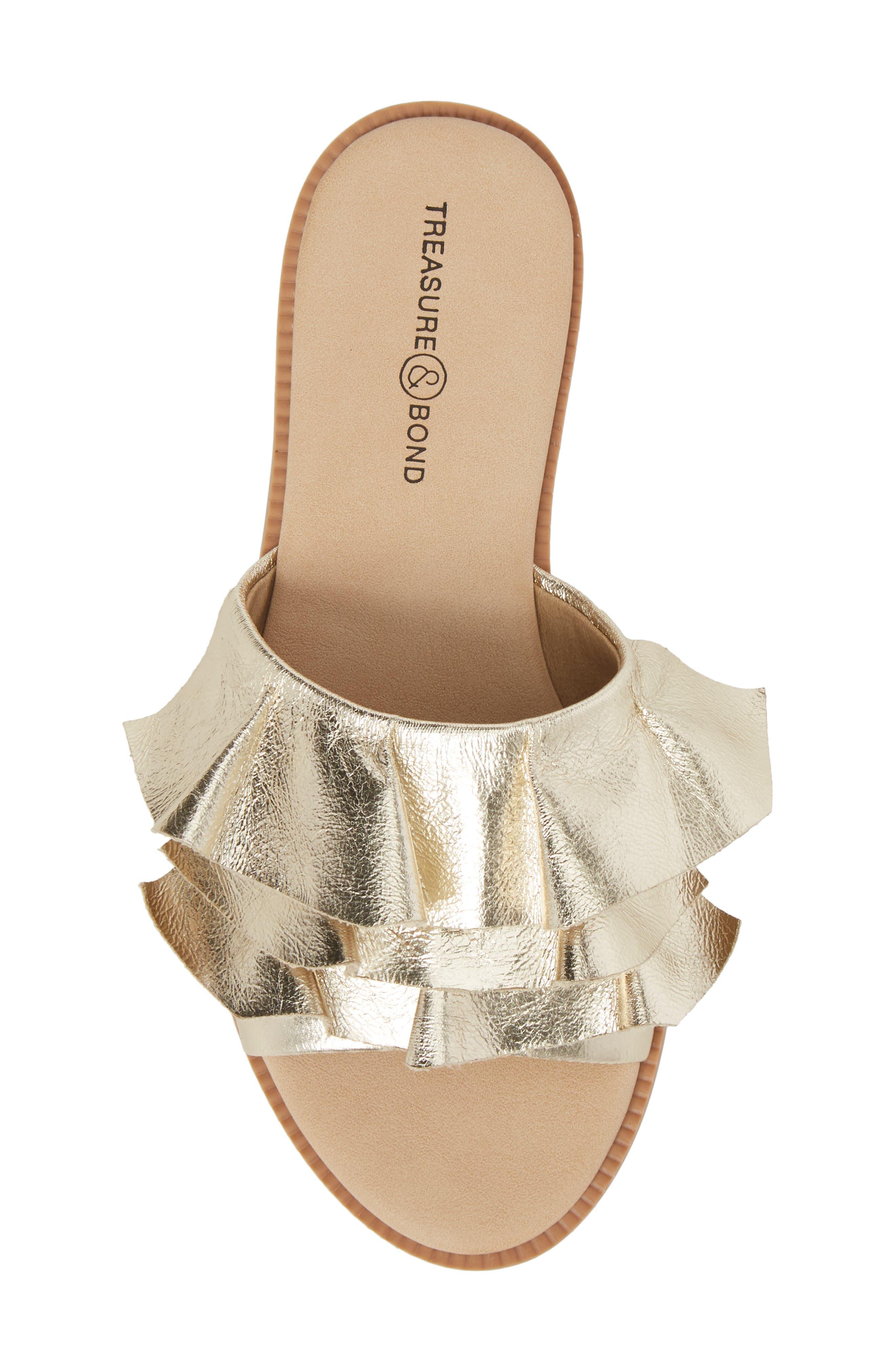 Ruby Ruffled Slide Sandal,                             Alternate thumbnail 5, color,                             Gold Crackle Faux Leather