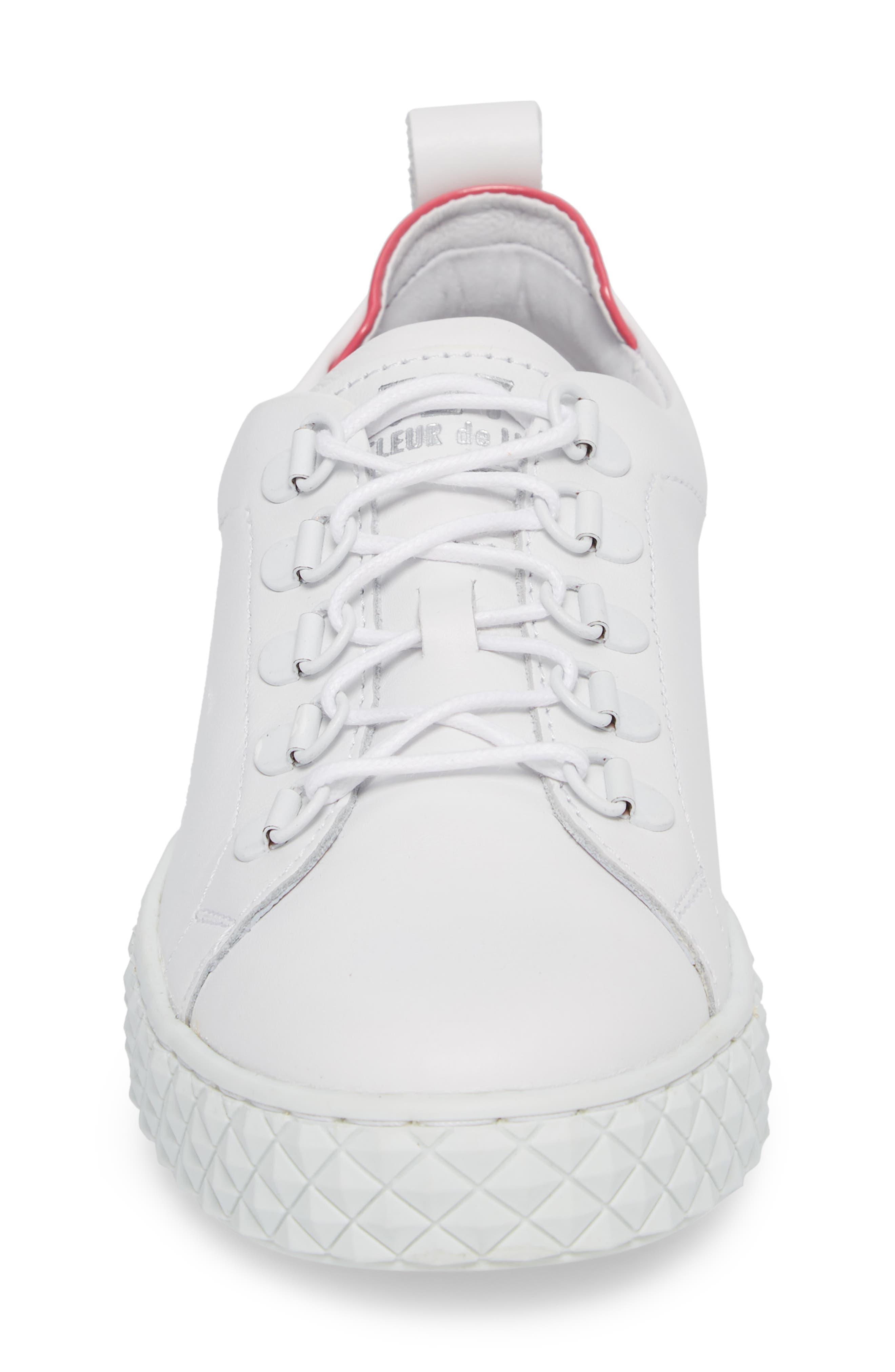 Sol Sneaker,                             Alternate thumbnail 4, color,                             Optic White/ Fuchsia Leather