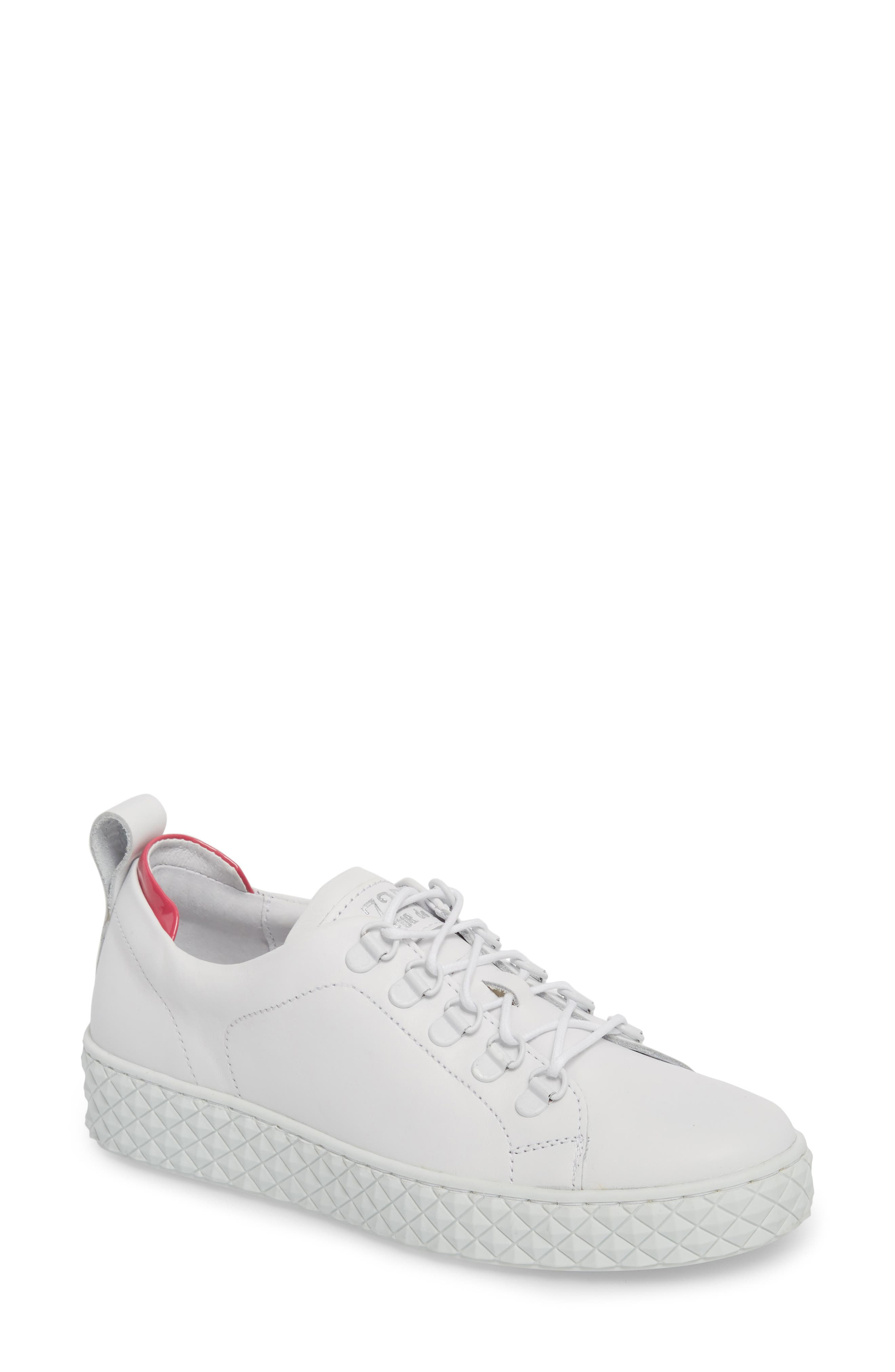 Sol Sneaker,                             Main thumbnail 1, color,                             Optic White/ Fuchsia Leather