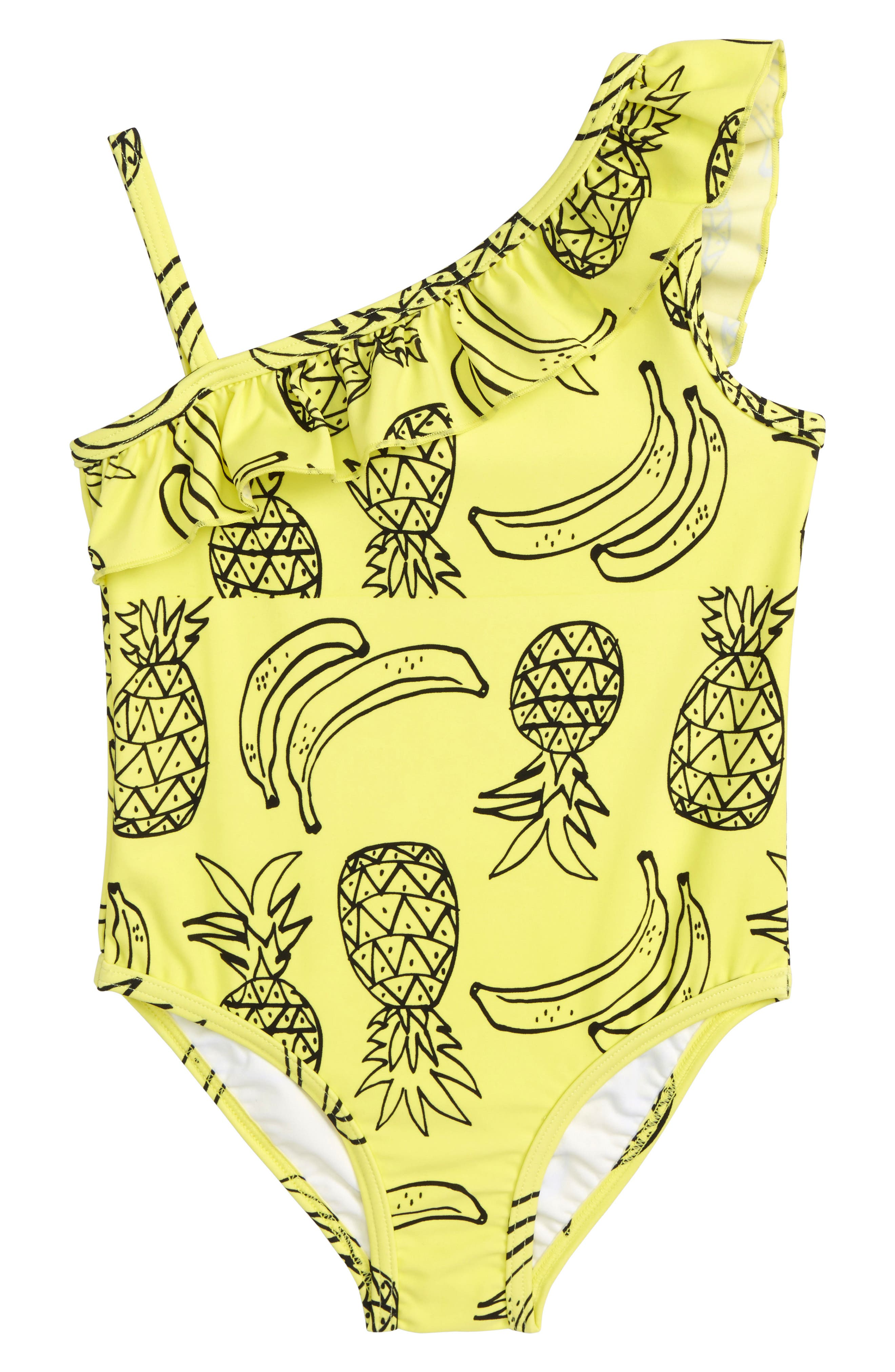 Pineapple Ruffle One-Piece Swimsuit,                             Main thumbnail 1, color,                             Yellow Light Tropical Fruits