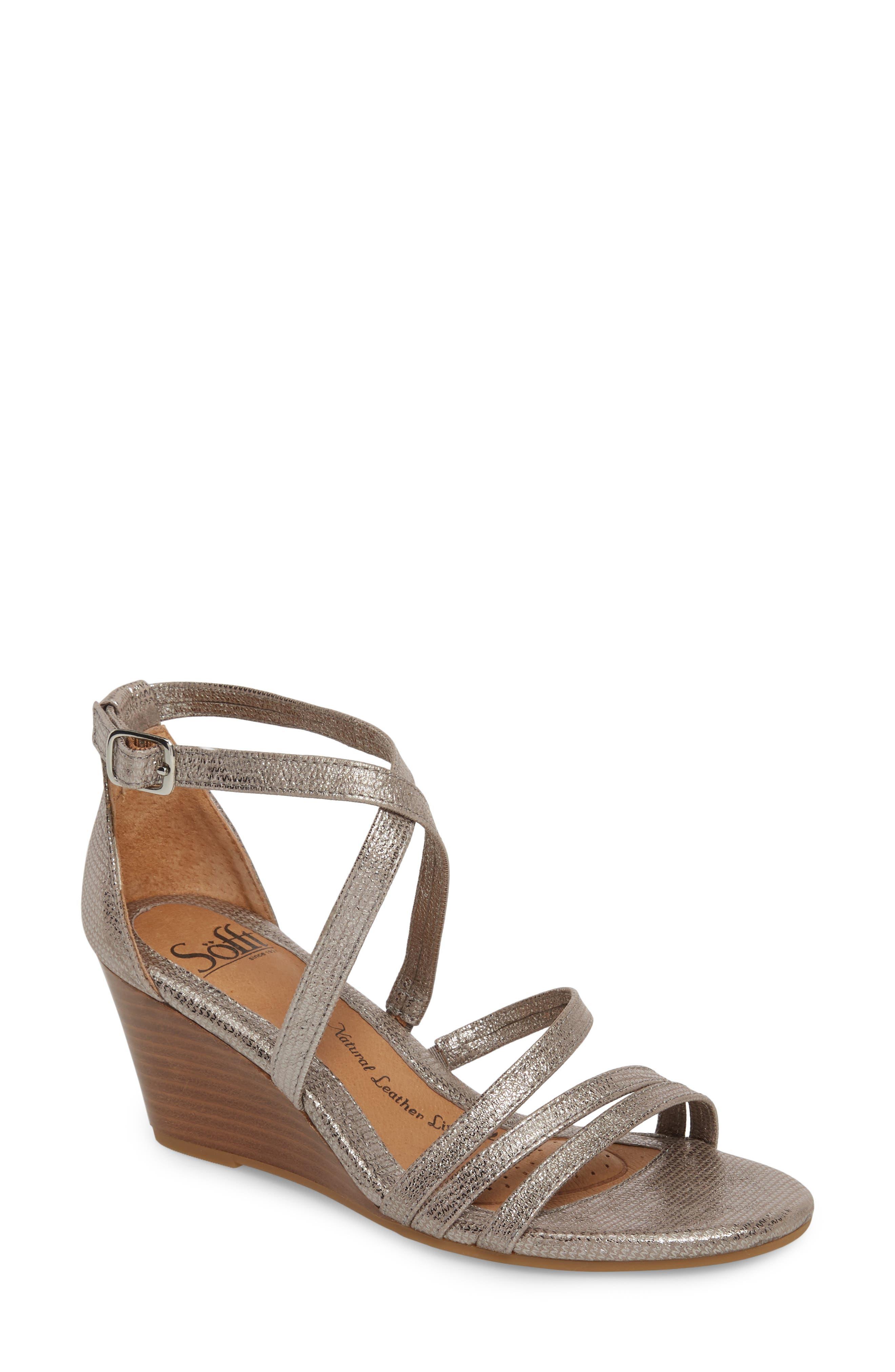 Mecina Wedge Sandal,                             Main thumbnail 1, color,                             Silver Metallic Leather
