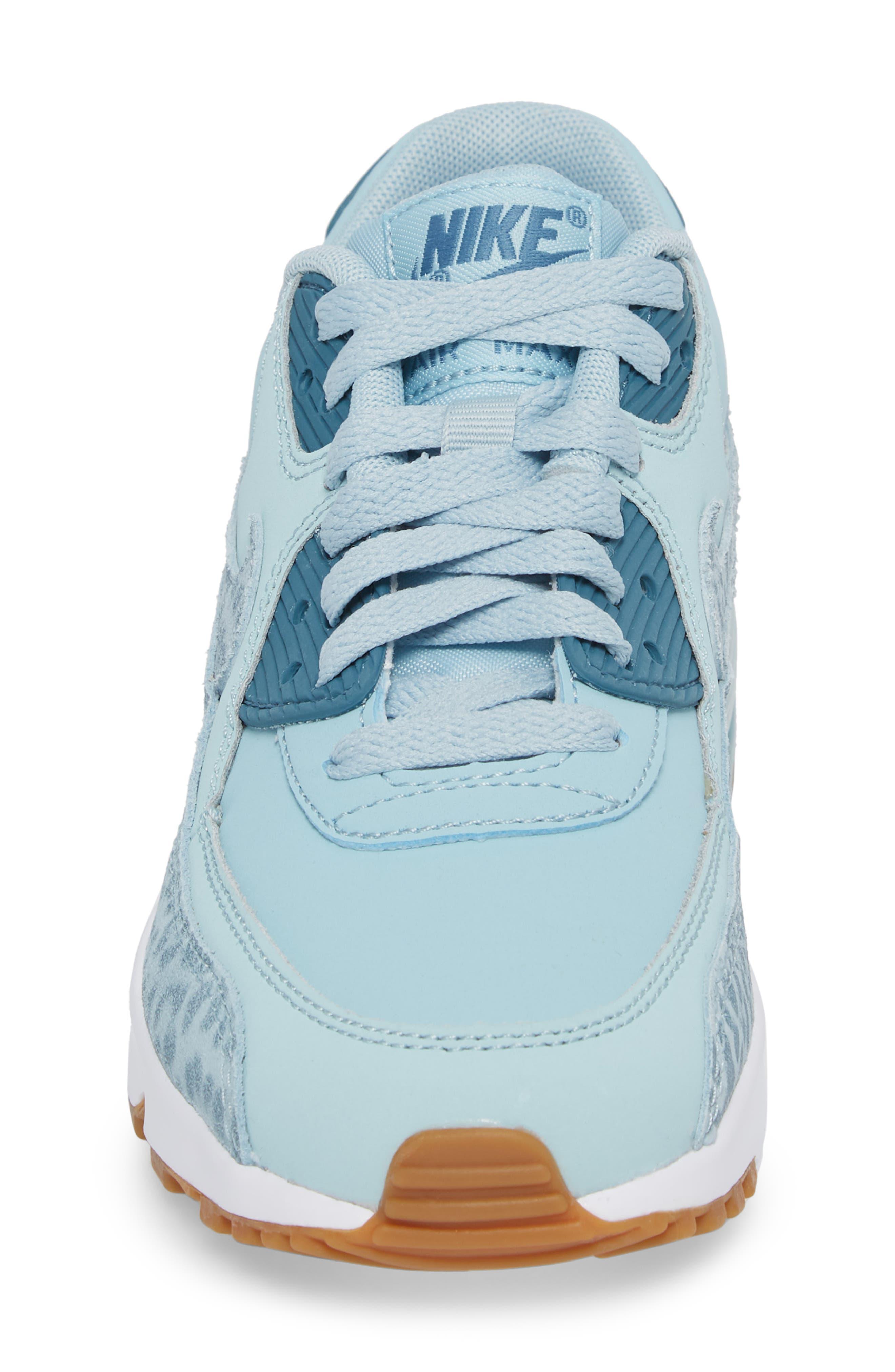 Air Max 90 Leather Sneaker,                             Alternate thumbnail 4, color,                             Ocean Bliss/ Noise Aqua/ White