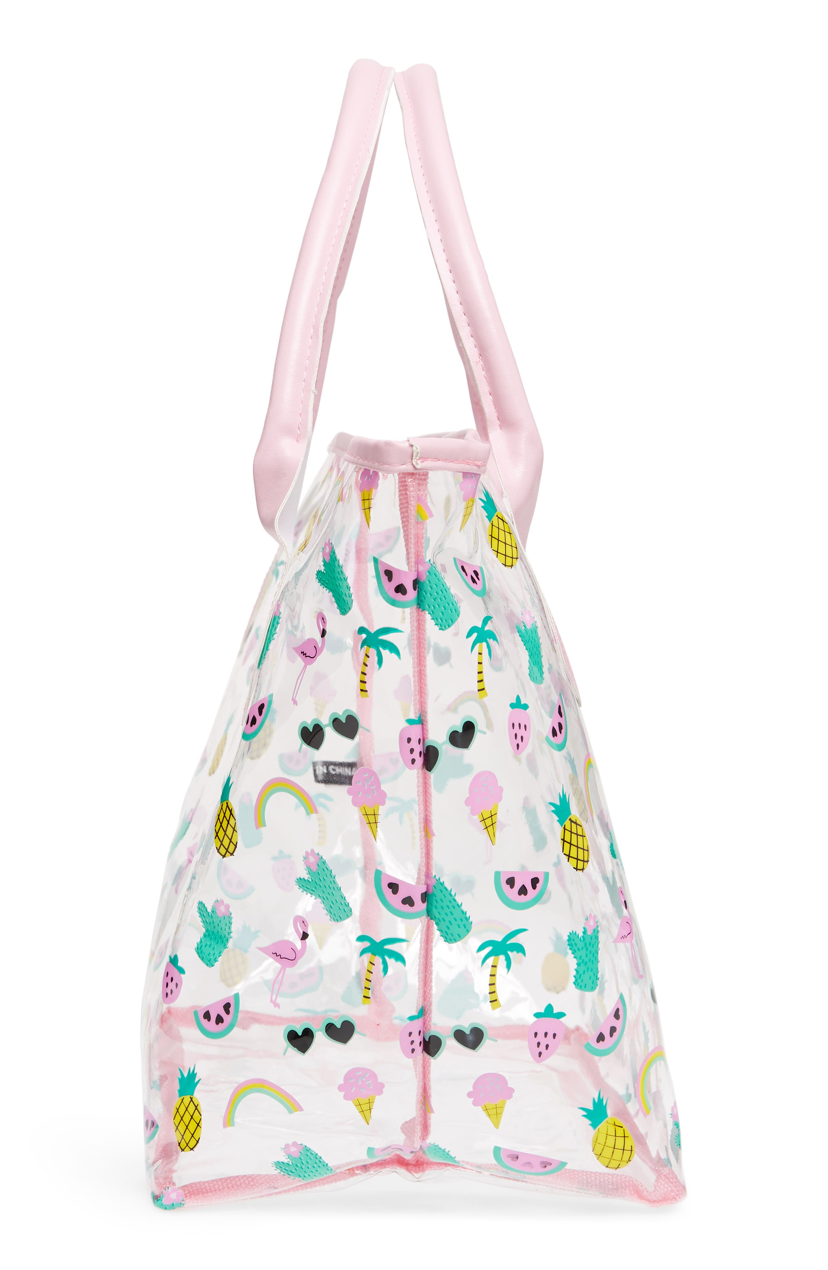 Alternate Image 4  - Capelli New York Summer Fun Emoji Transparent Tote (Girls)
