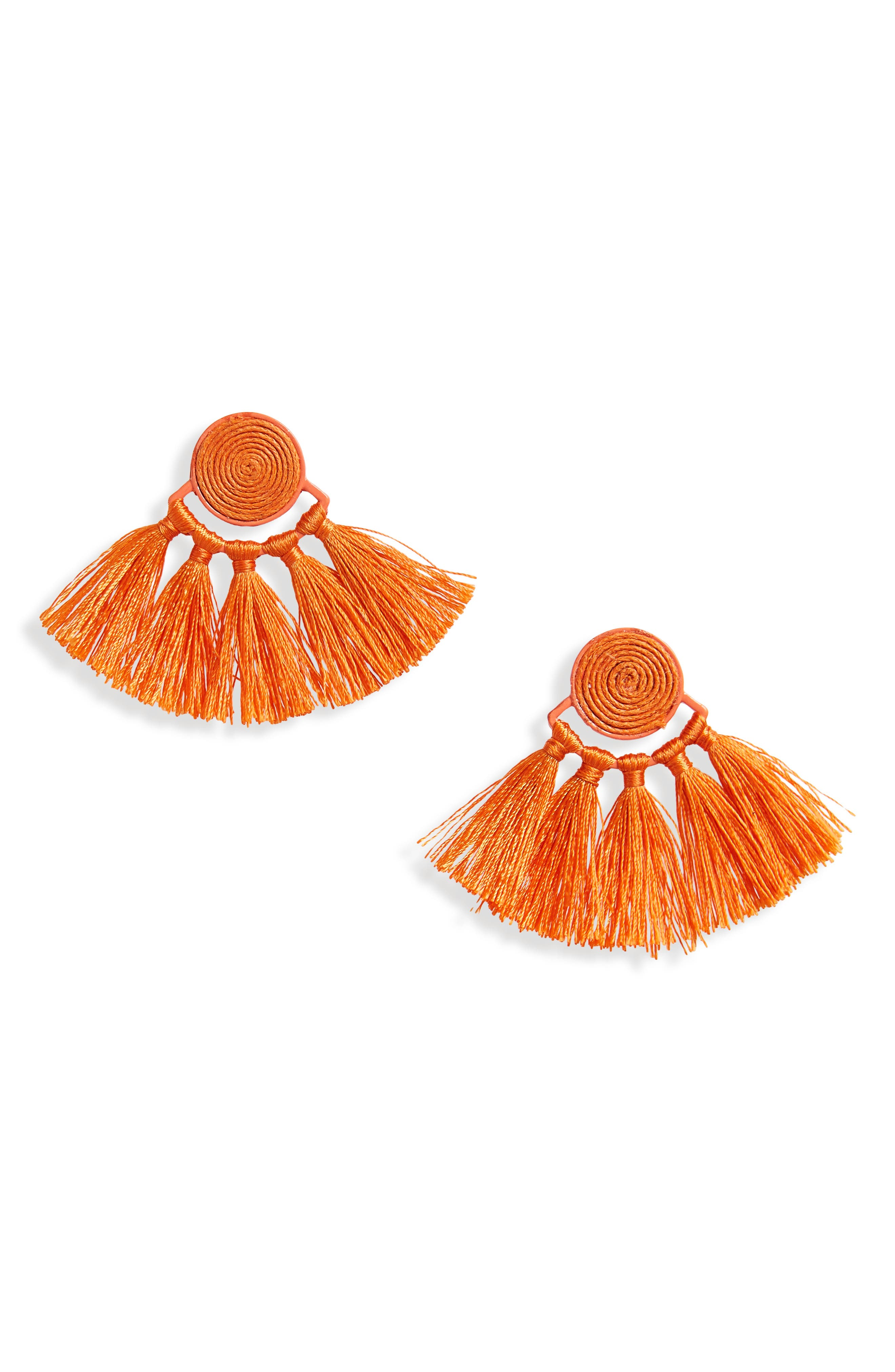 Swirl Tassel Earrings,                             Main thumbnail 1, color,                             Orange