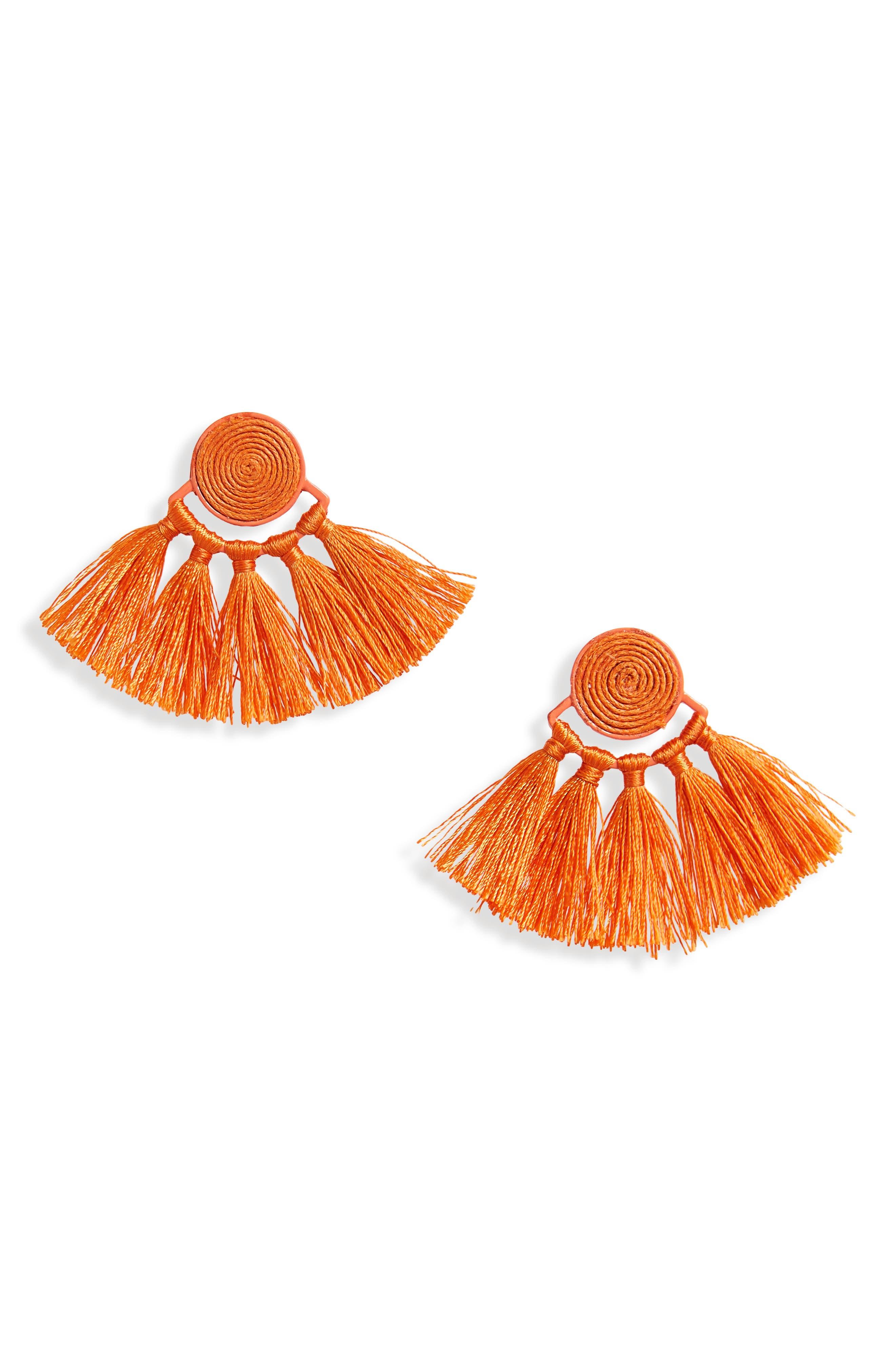 Swirl Tassel Earrings,                         Main,                         color, Orange