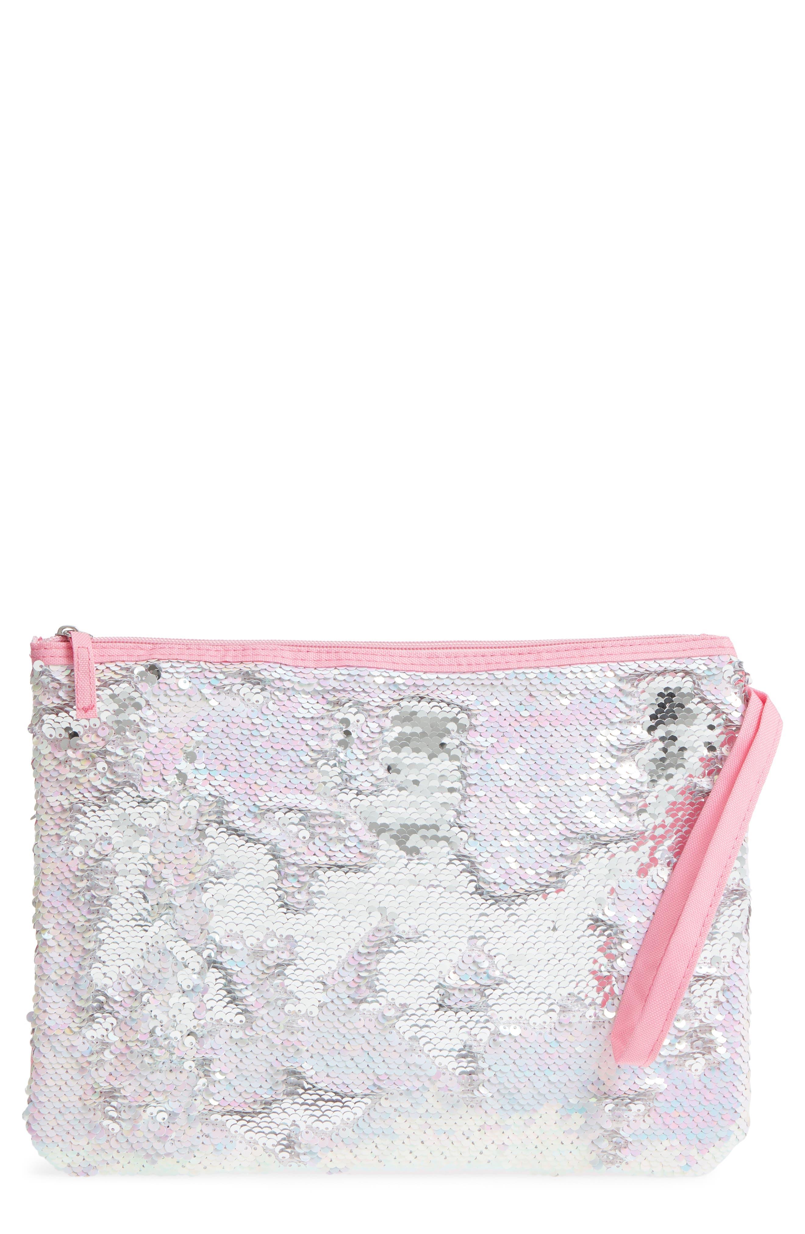 Sequin Bikini Bag,                             Main thumbnail 1, color,                             Pink Combo