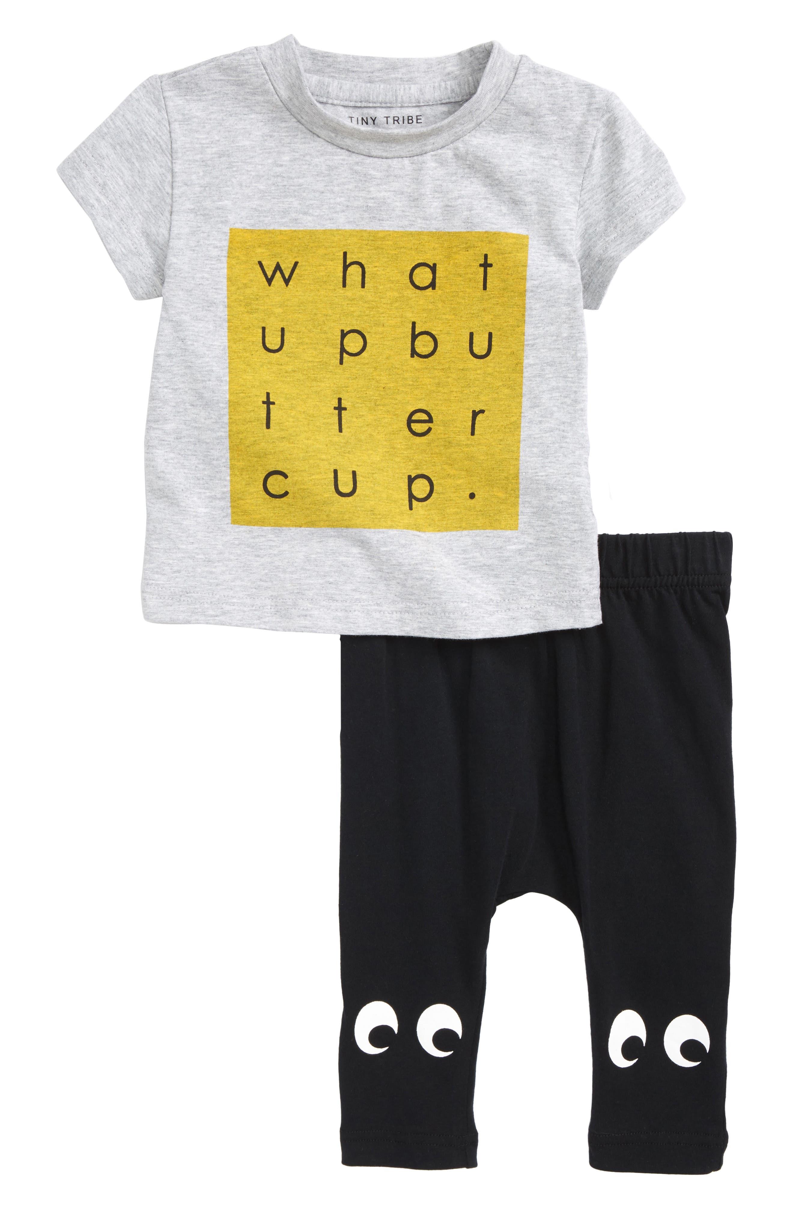 What Up Shirt & Pants Set,                             Main thumbnail 1, color,                             Grey/ Black