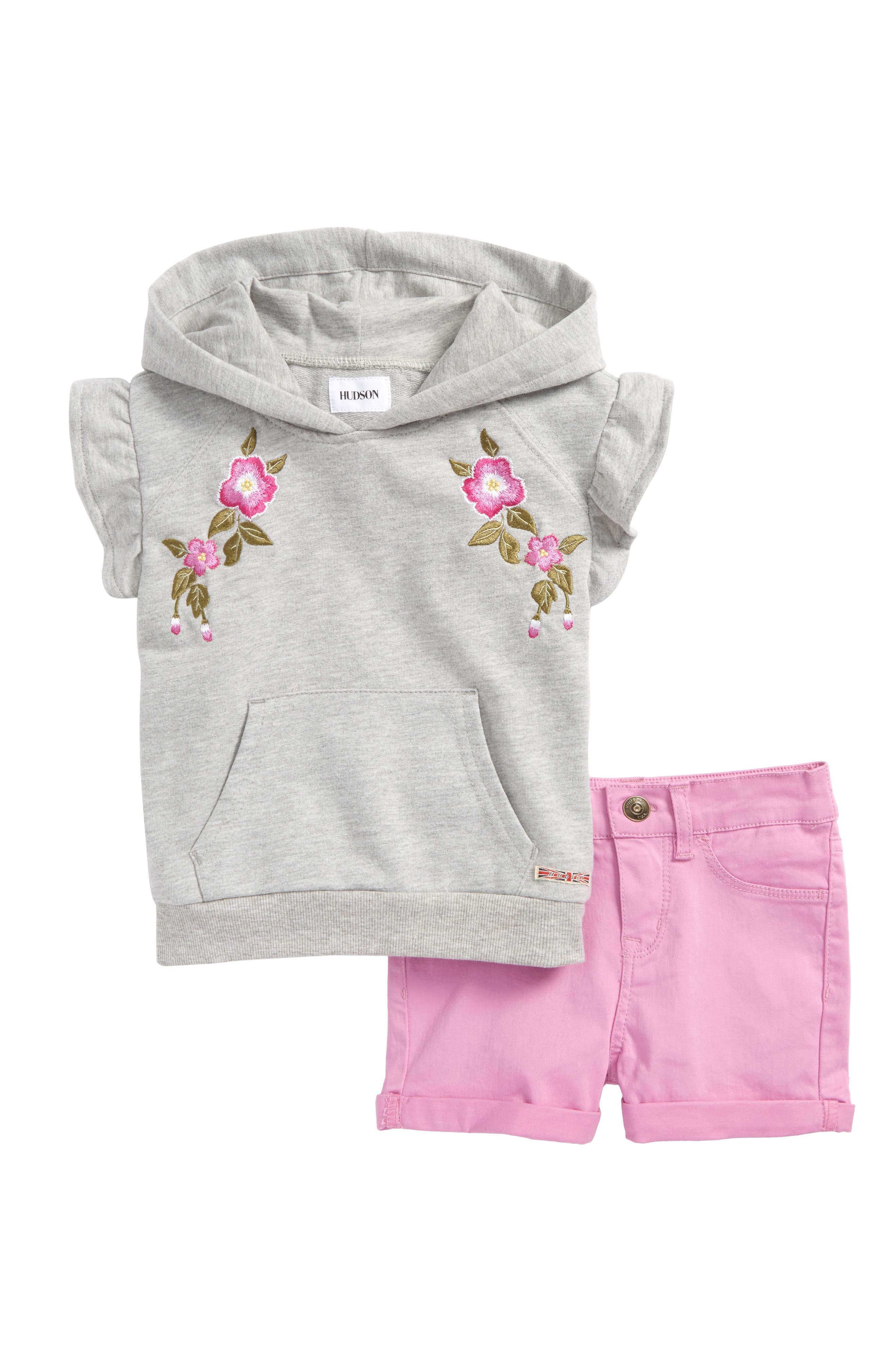 Embroidered Hoodie & Shorts Set,                             Main thumbnail 1, color,                             Grey Heather