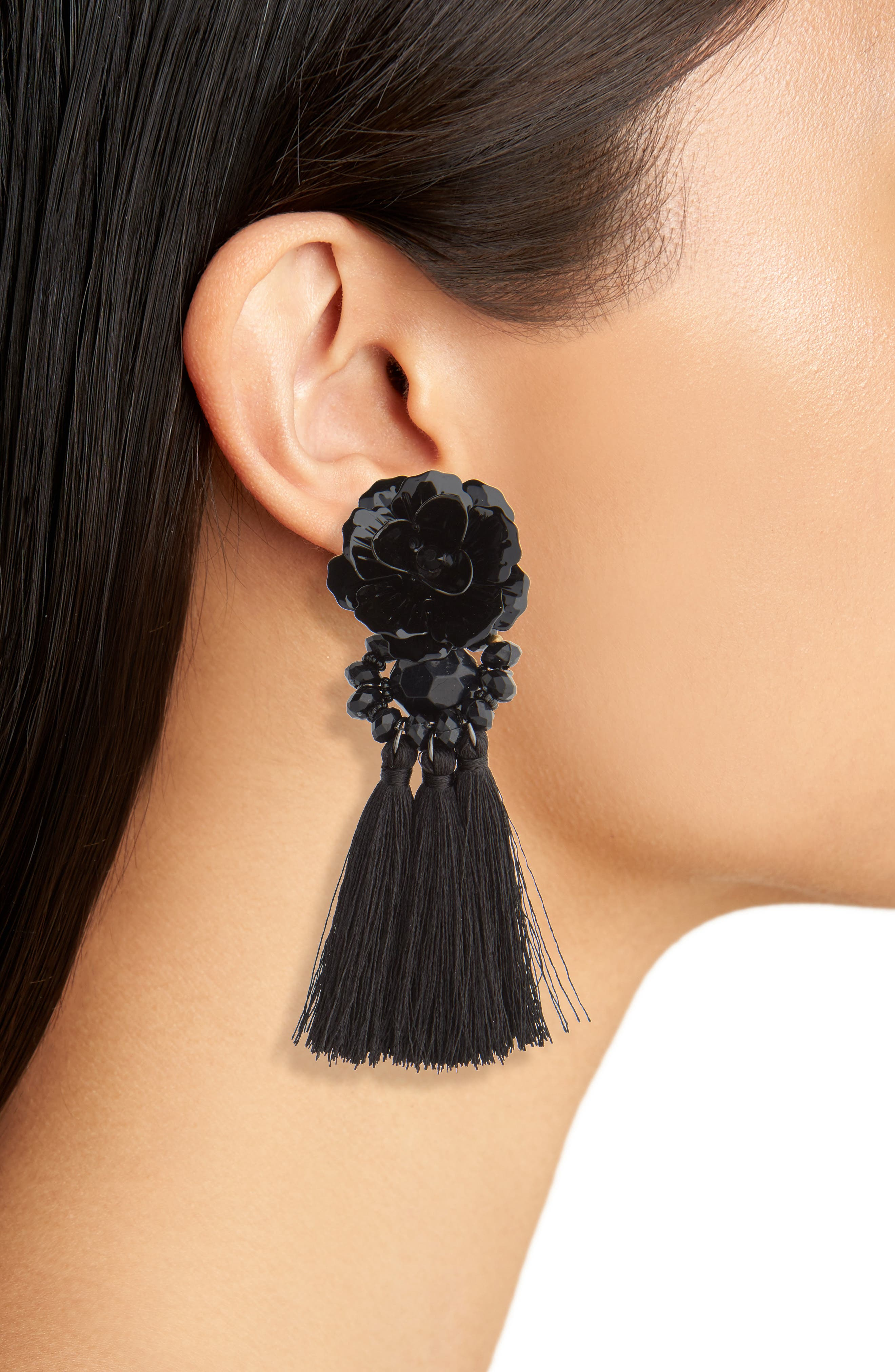 Flower Tassel Drop Earrings,                             Alternate thumbnail 2, color,                             Black