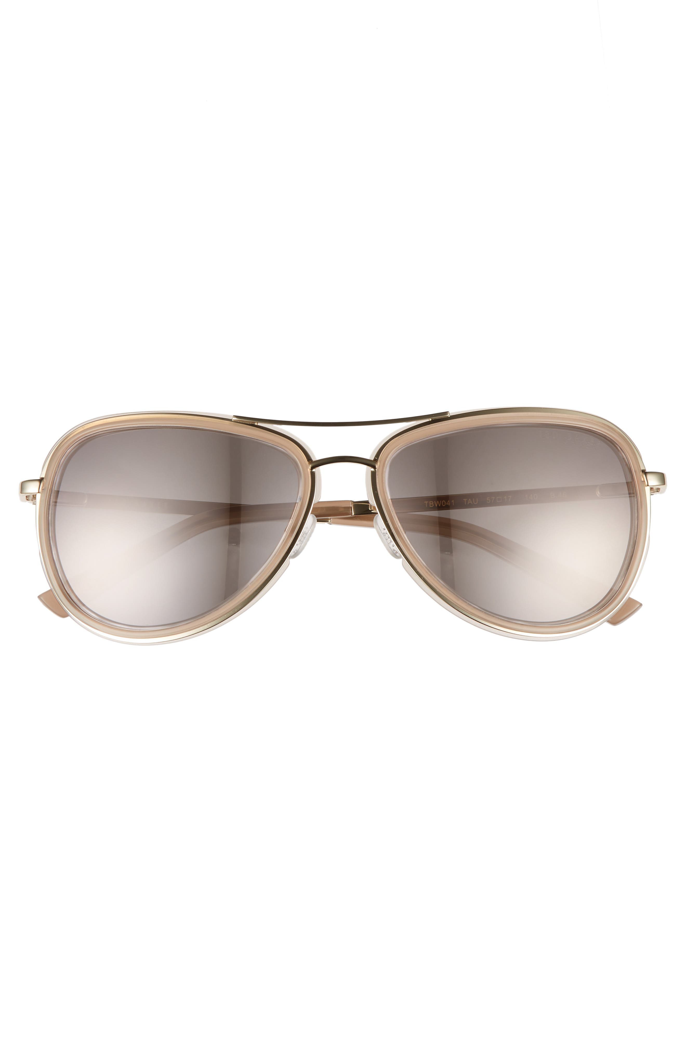 Combination 57mm Aviator Sunglasses,                             Alternate thumbnail 3, color,                             Taupe