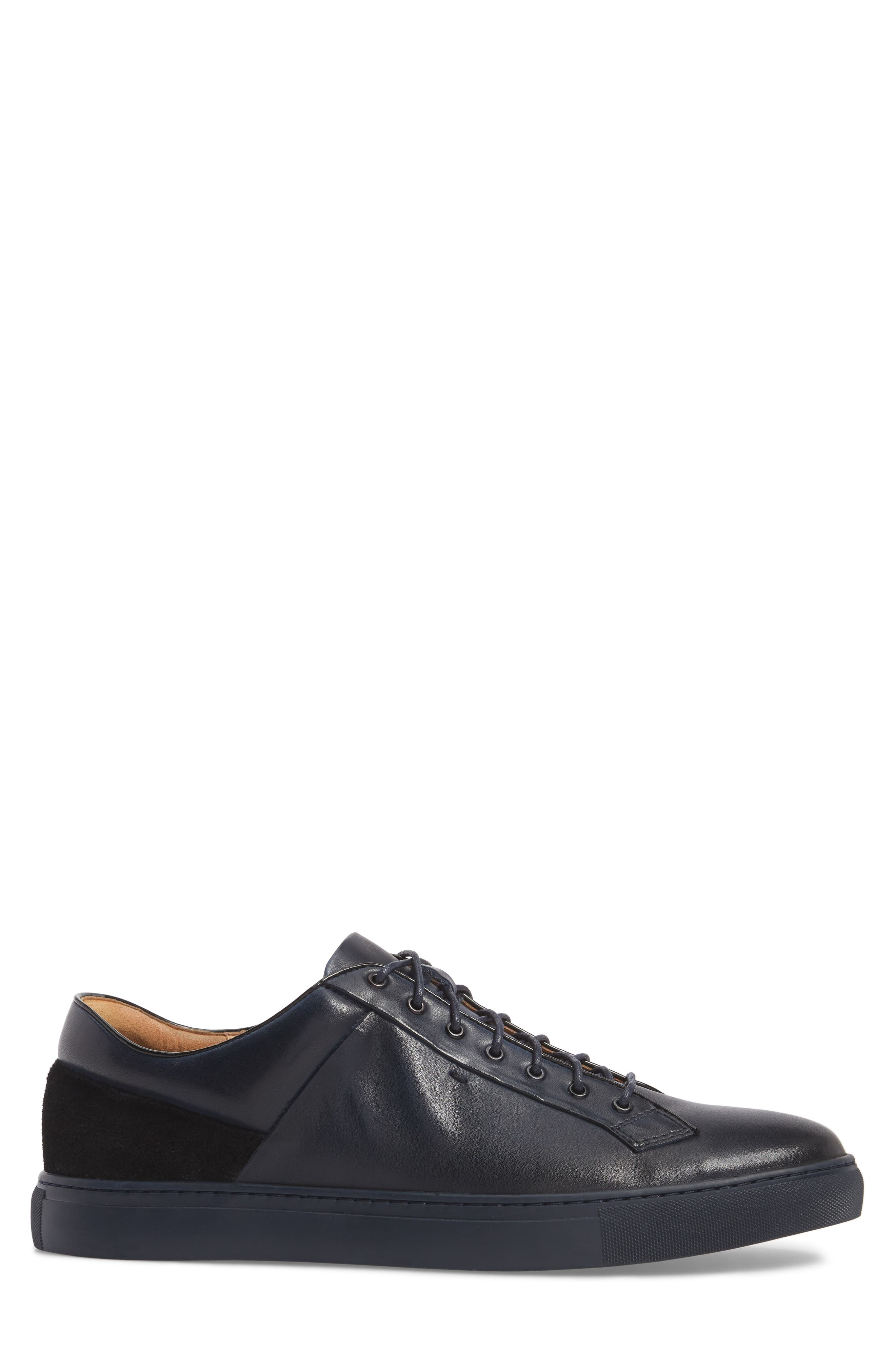 Pitch Low Top Sneaker,                             Alternate thumbnail 3, color,                             Navy Leather/ Suede