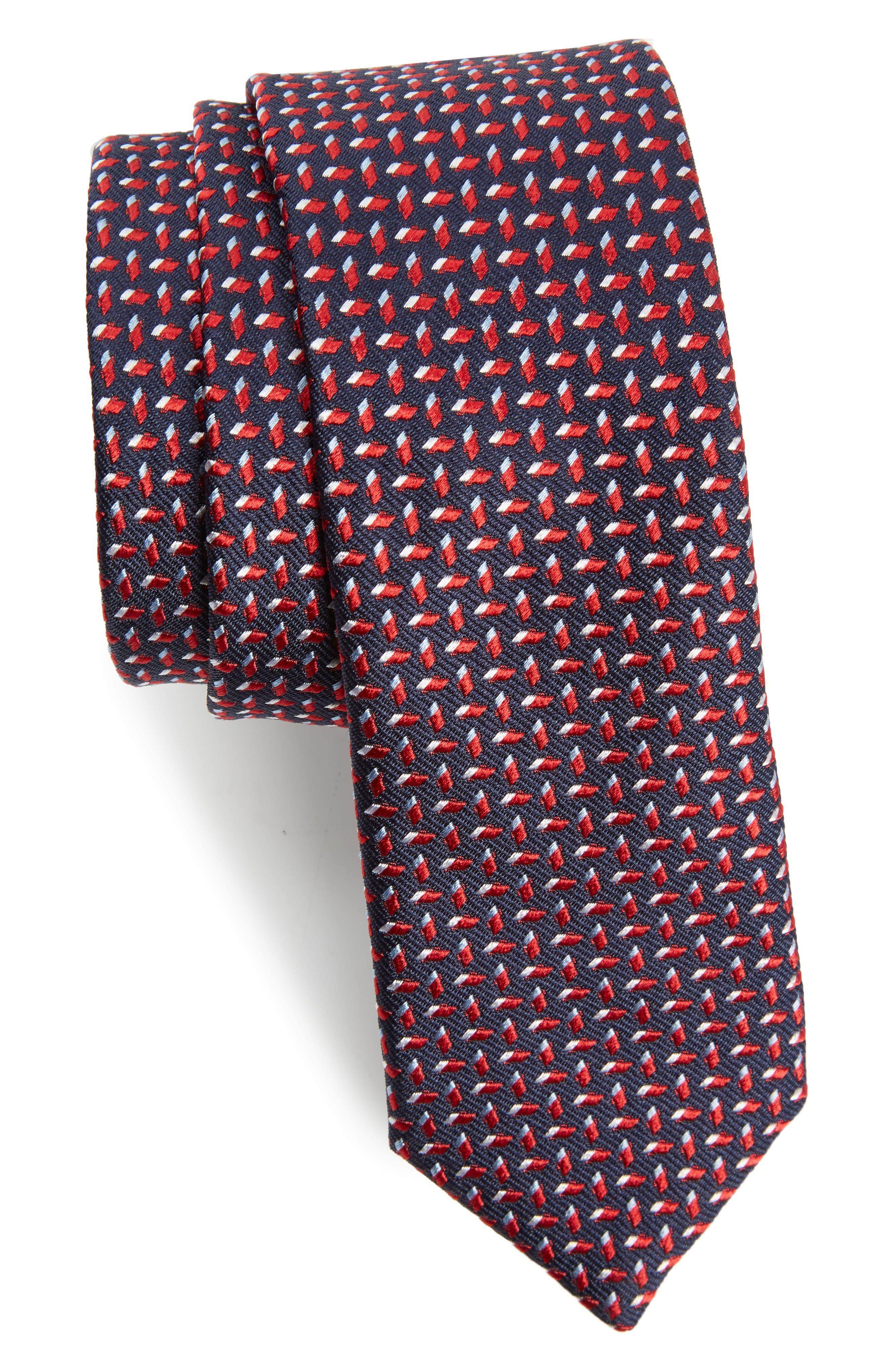 Geometric Silk Skinny Tie,                         Main,                         color, Red