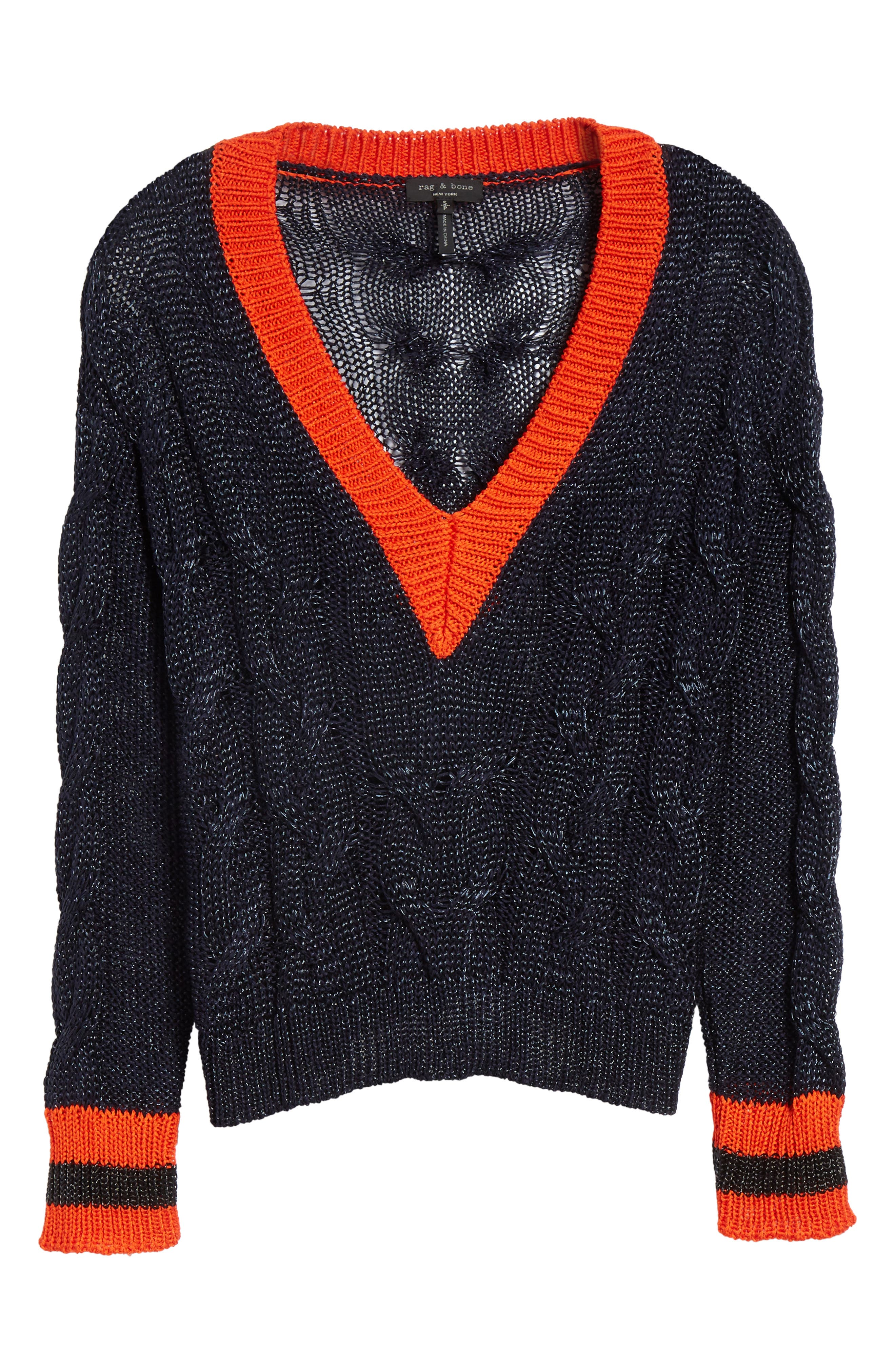 Emma Cable Knit Sweater,                             Alternate thumbnail 6, color,                             Navy