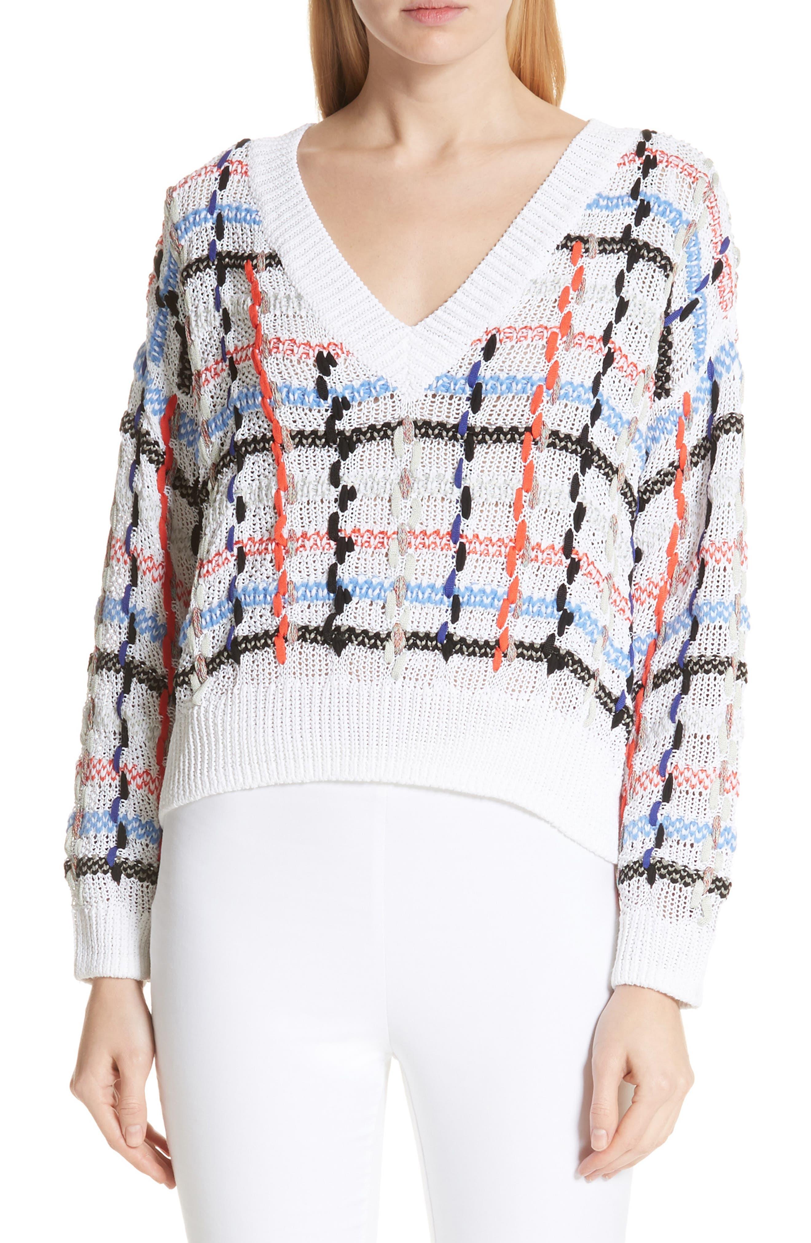Lloyd Ribbon Detail Plaid Sweater,                             Main thumbnail 1, color,                             White