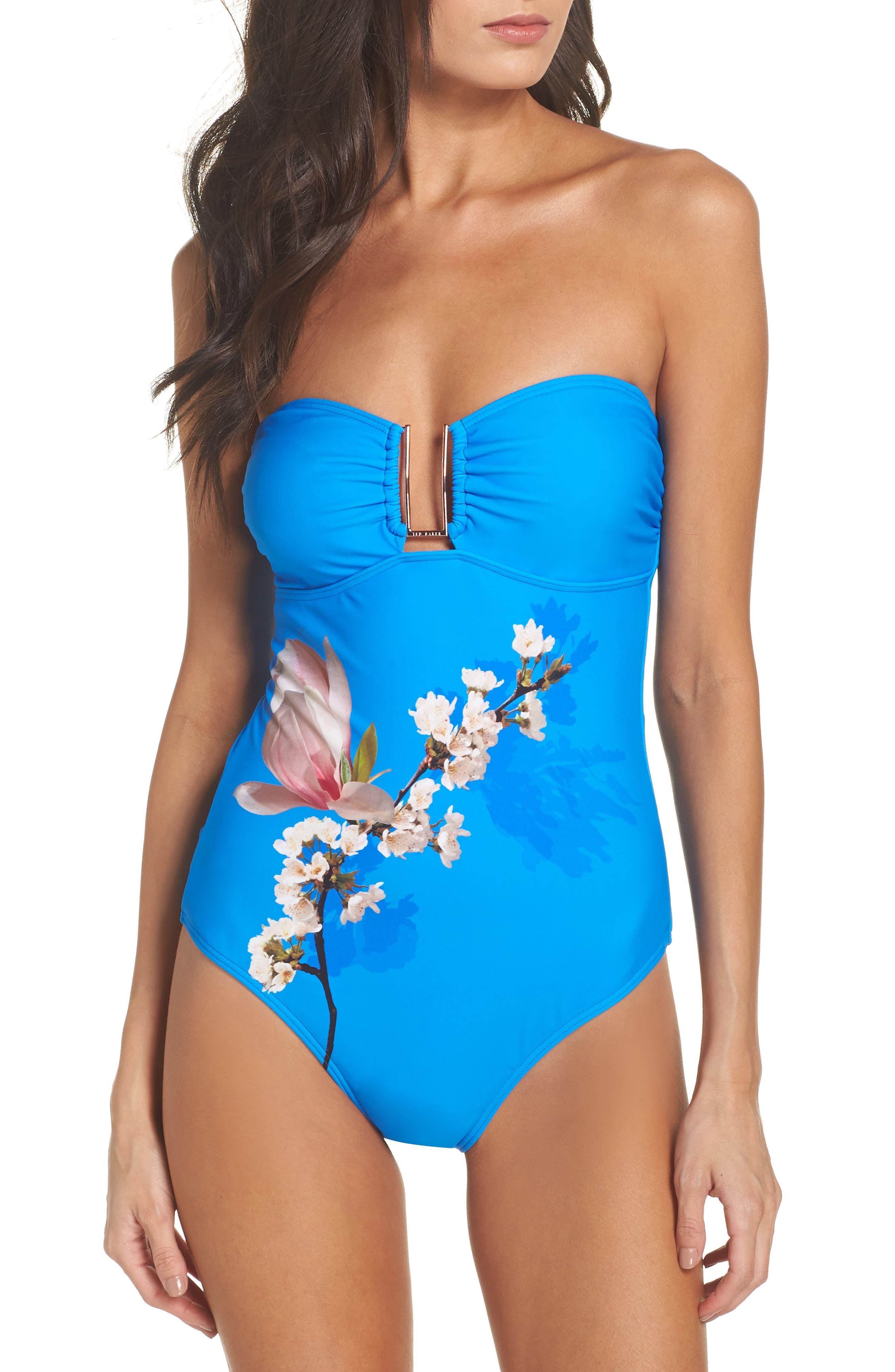 Harmony Bandeau One-Piece Swimsuit,                             Main thumbnail 1, color,                             Bright Blue